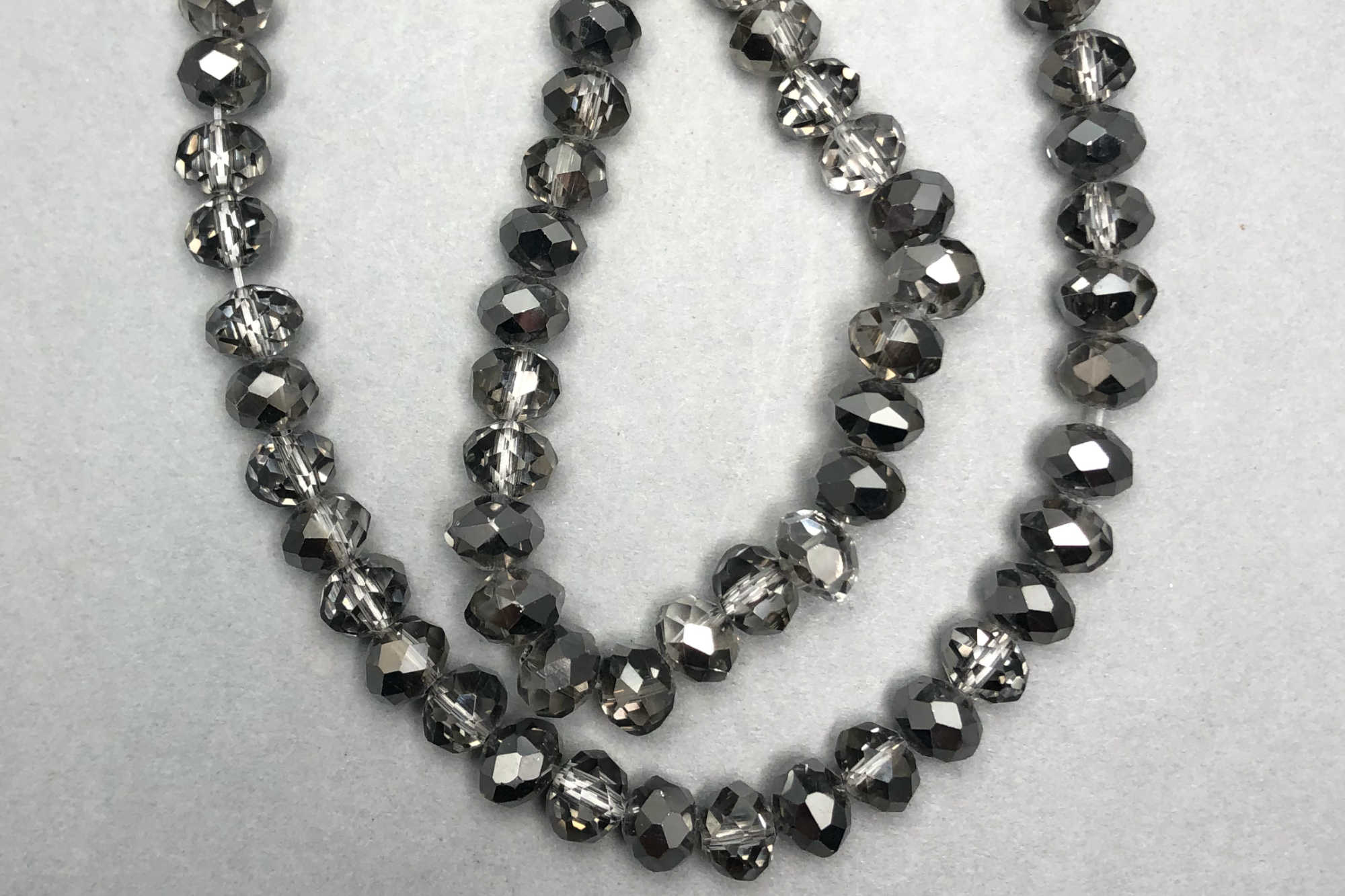 Pewter/Grey Faceted Glass Beads *NEW*
