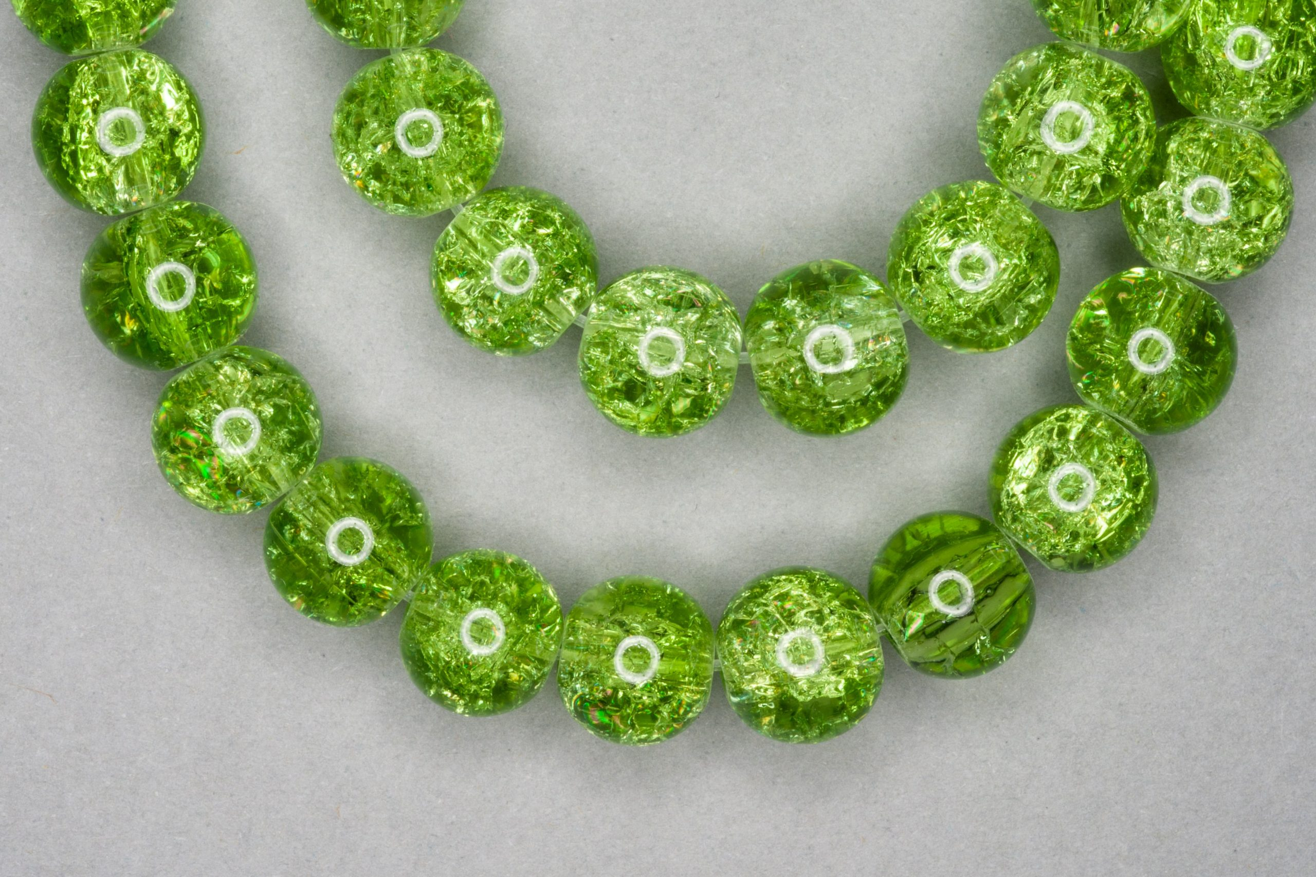 Apple Green Crackle Glass Beads