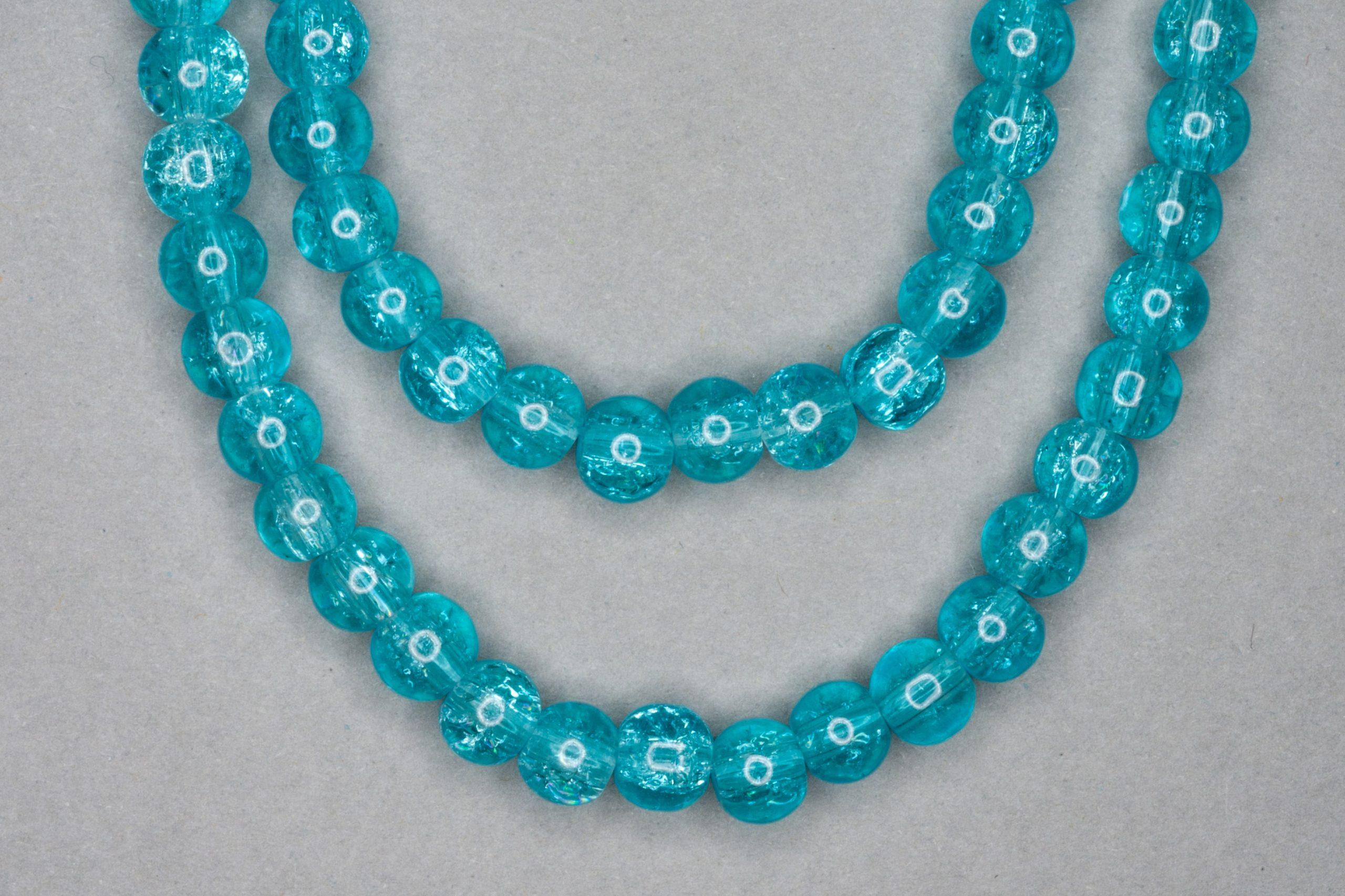 Aqua Blue Crackle Glass Beads