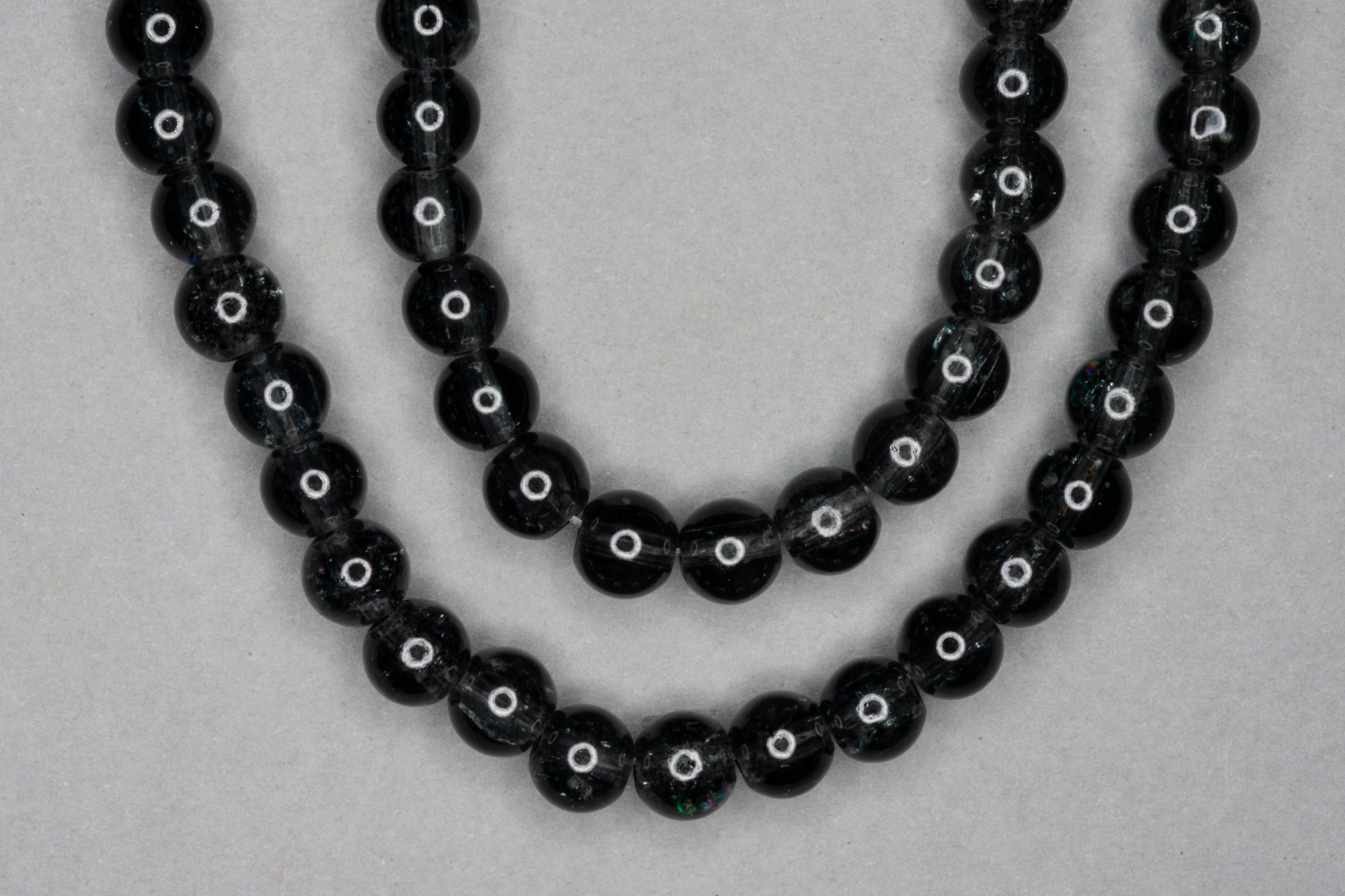 Black Slate Crackle Glass Beads