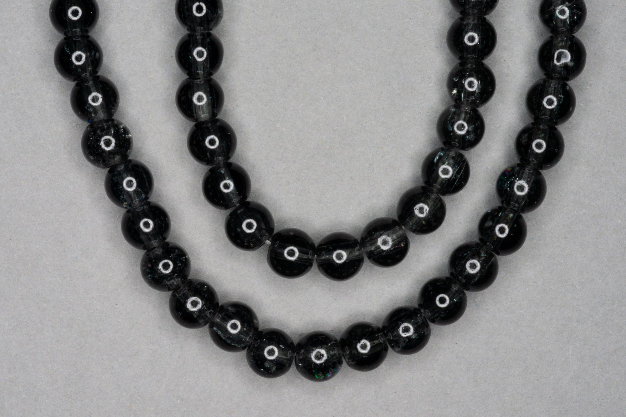 Black Slate Crackle Glass Beads