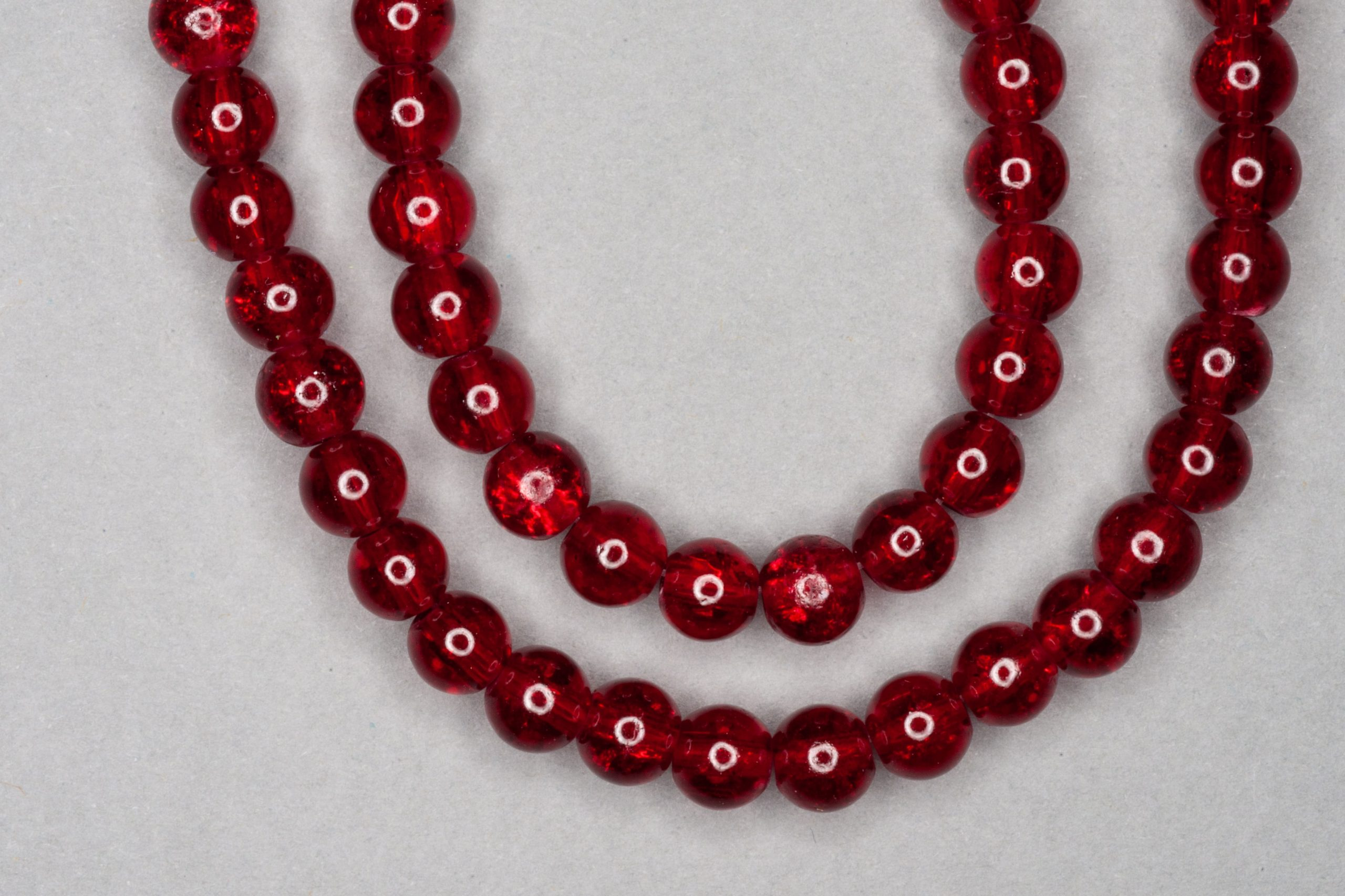 Blood Red Crackle Glass Beads