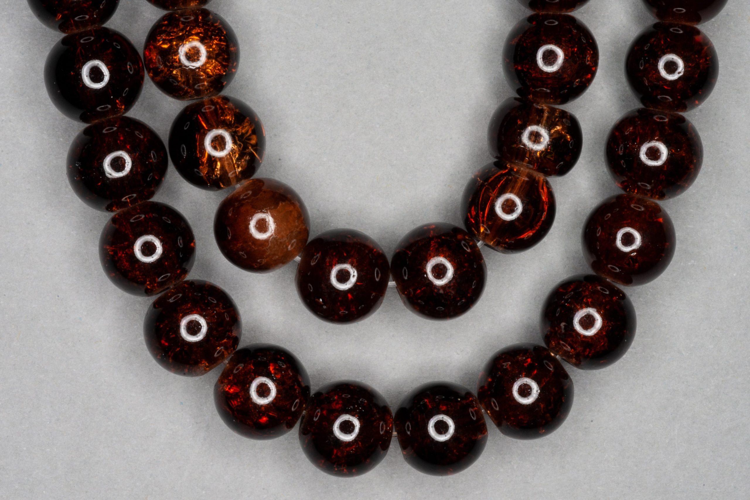 Brown Crackle Glass Beads
