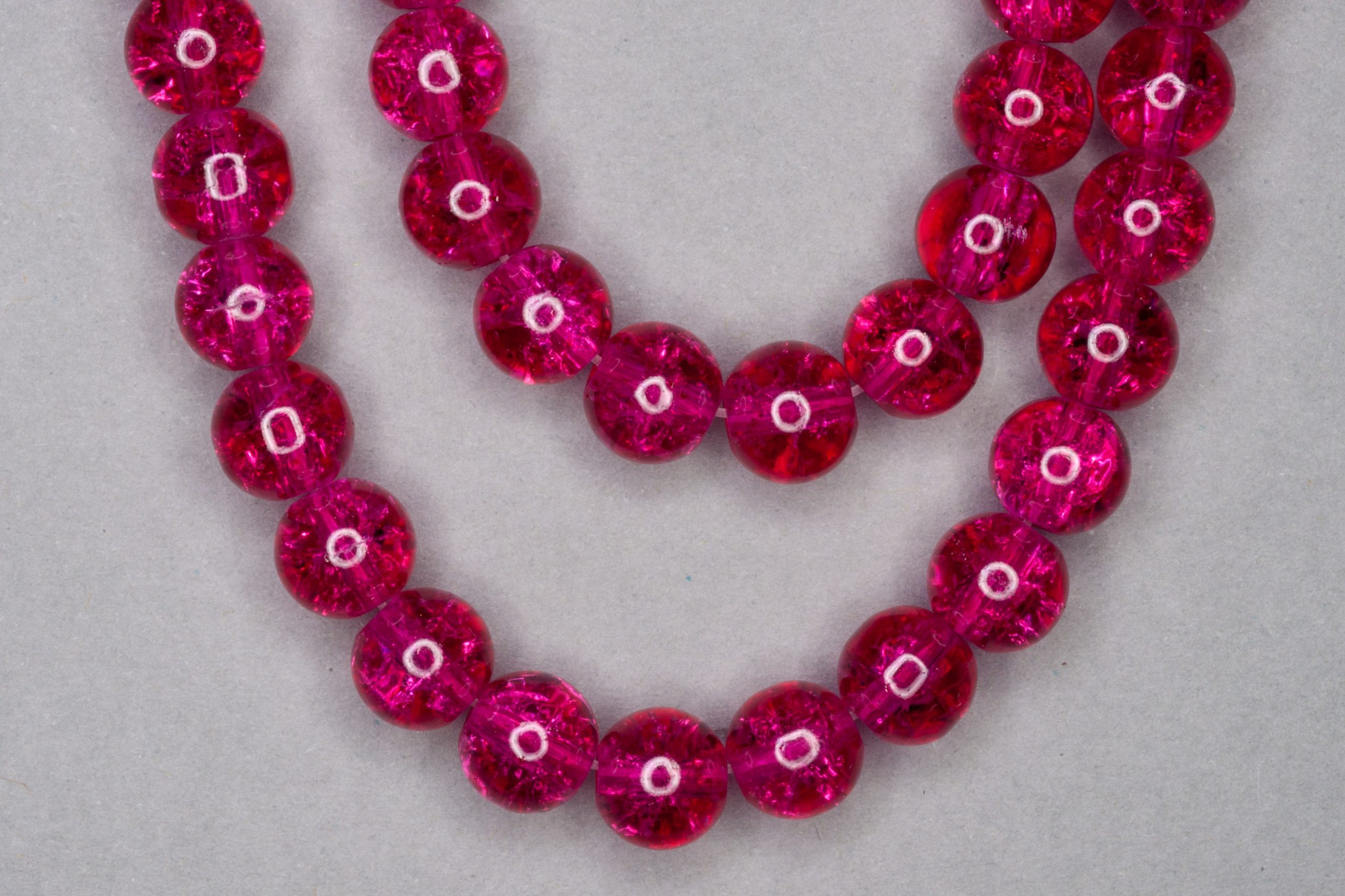 Cerise Crackle Glass Beads