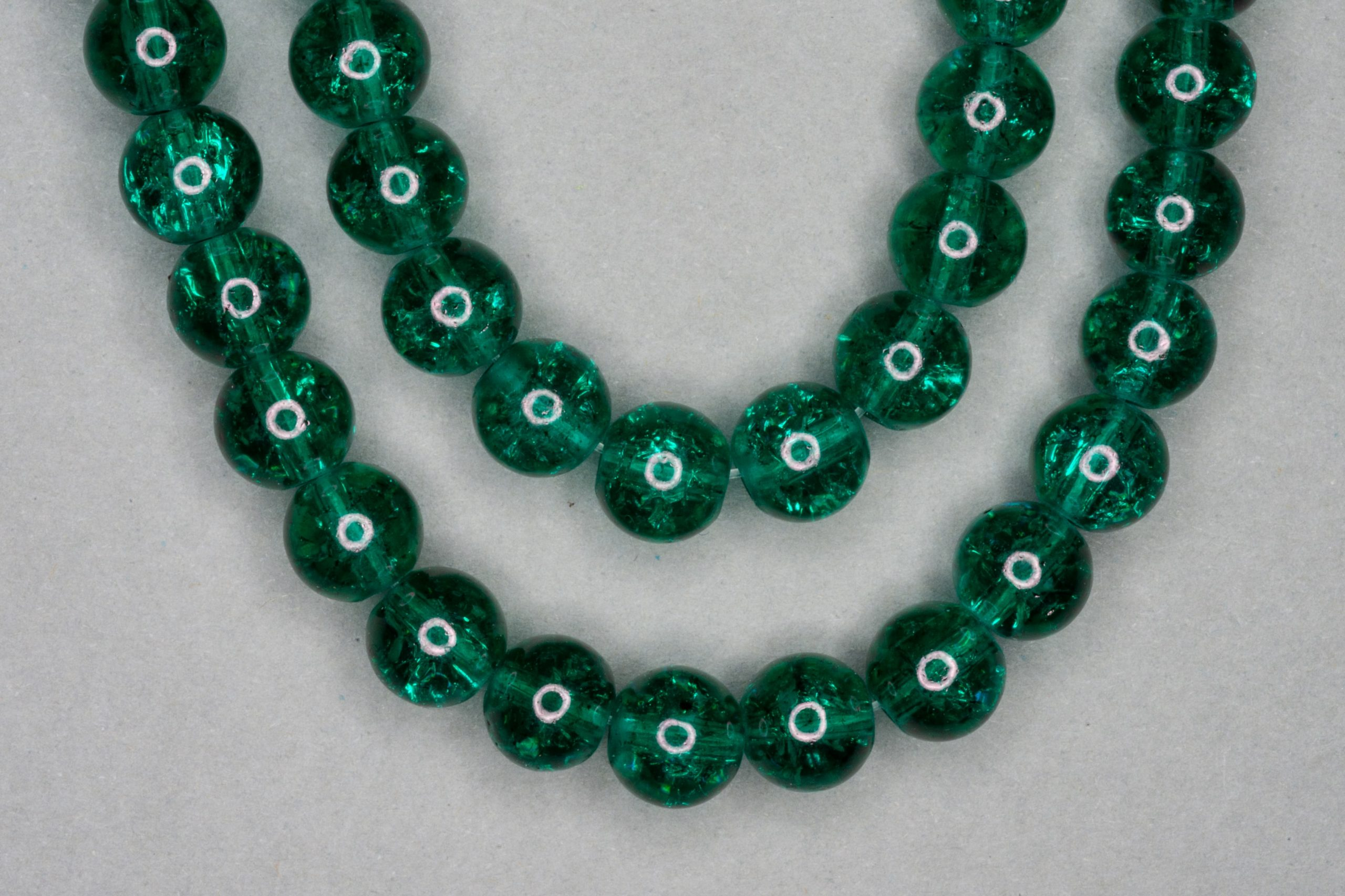 Dark Mint Green Crackle Glass Beads