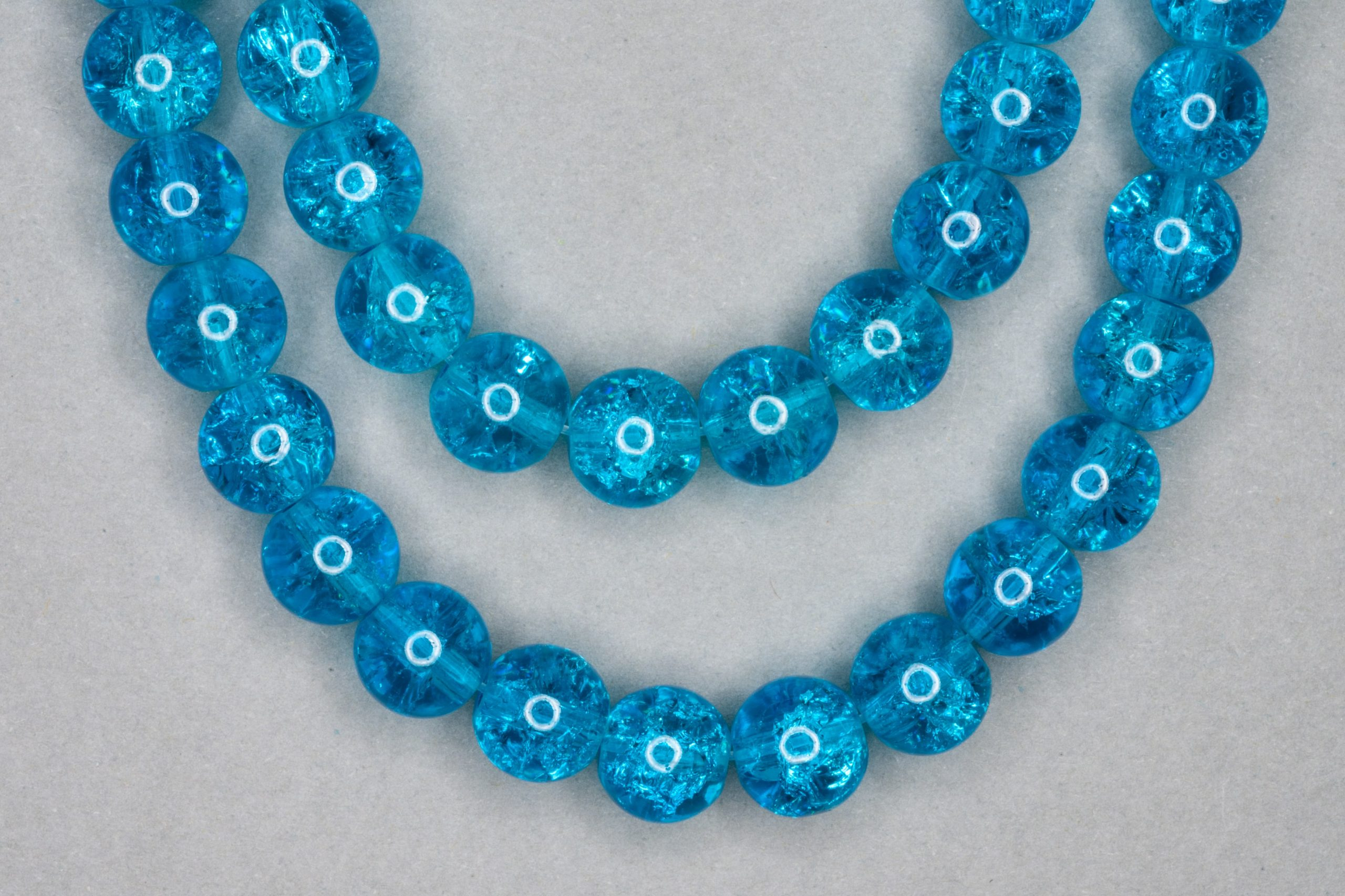 Dark Turquoise Crackle Glass Beads