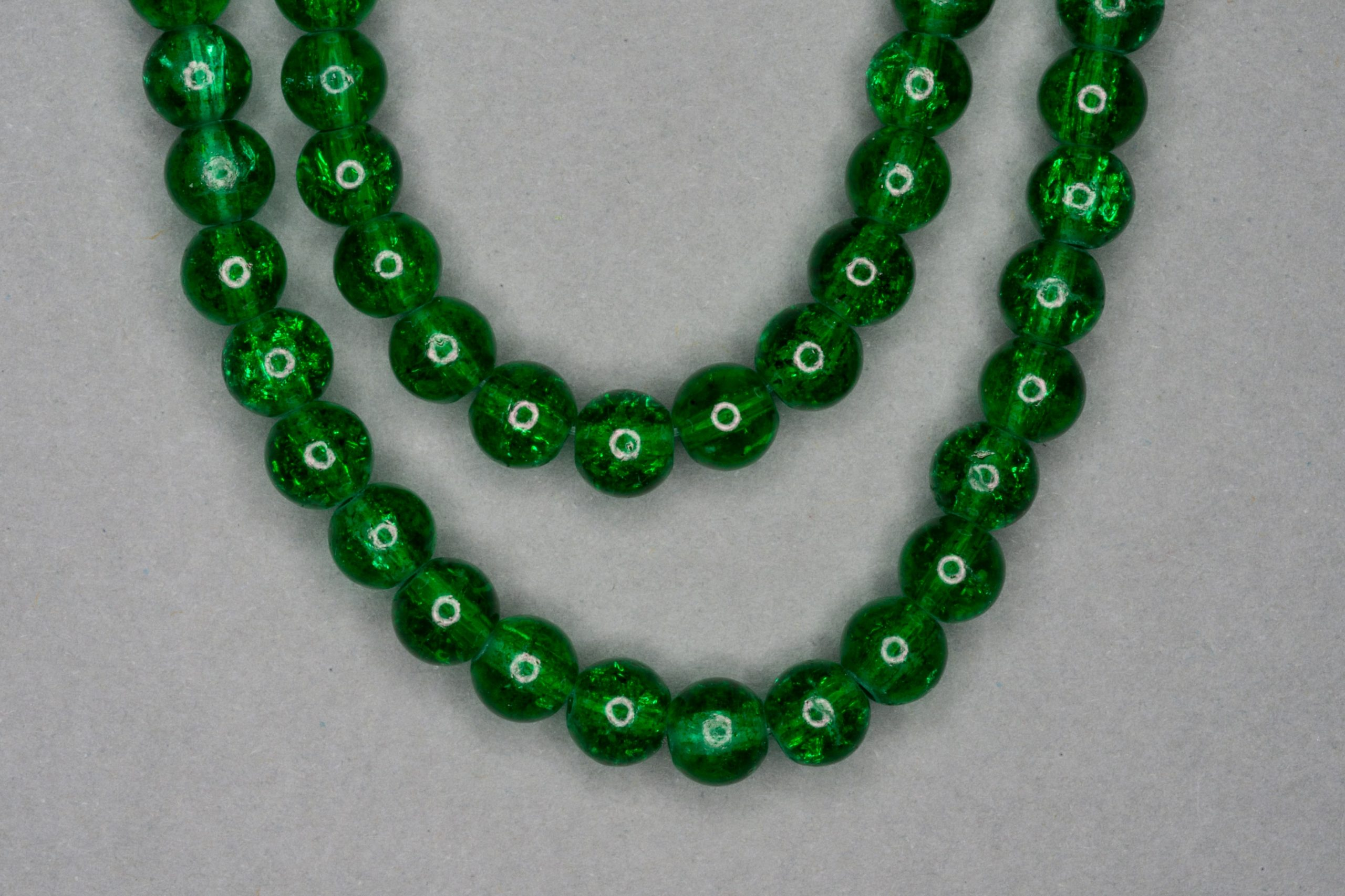 Emerald Green Crackle Glass Beads