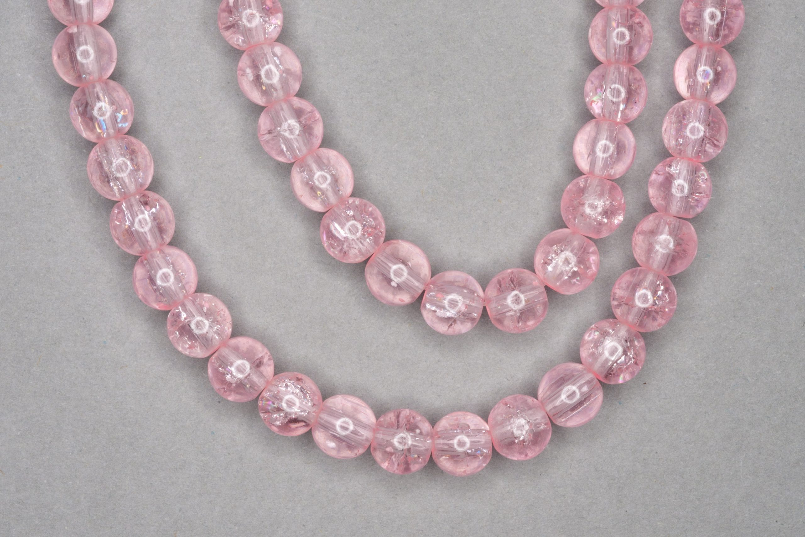 Ice Pink Crackle Glass Beads