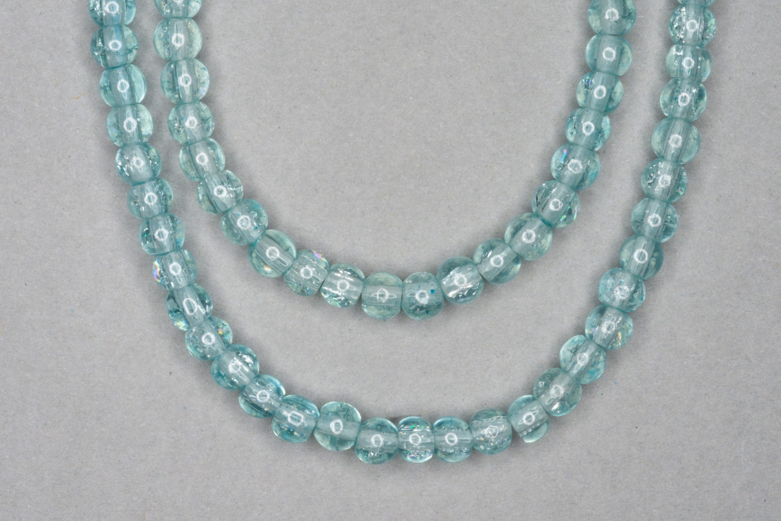 Ice Blue Crackle Glass Beads