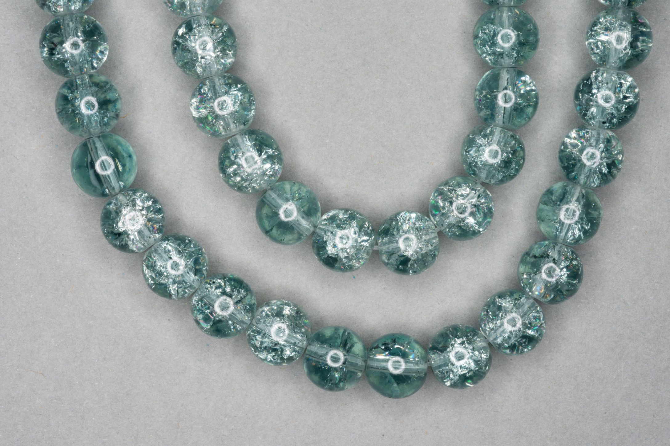 Light Grey Crackle Glass Beads