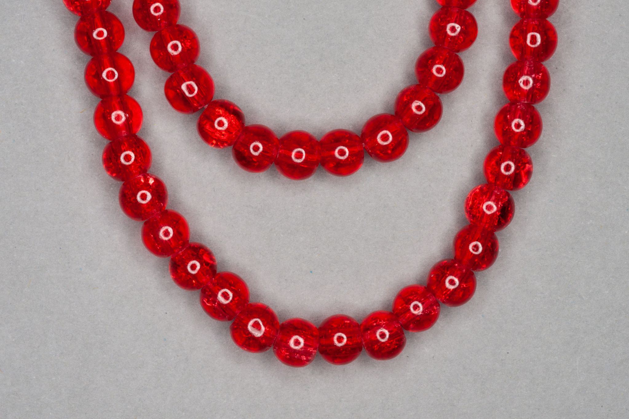 Light Red Crackle Glass Beads