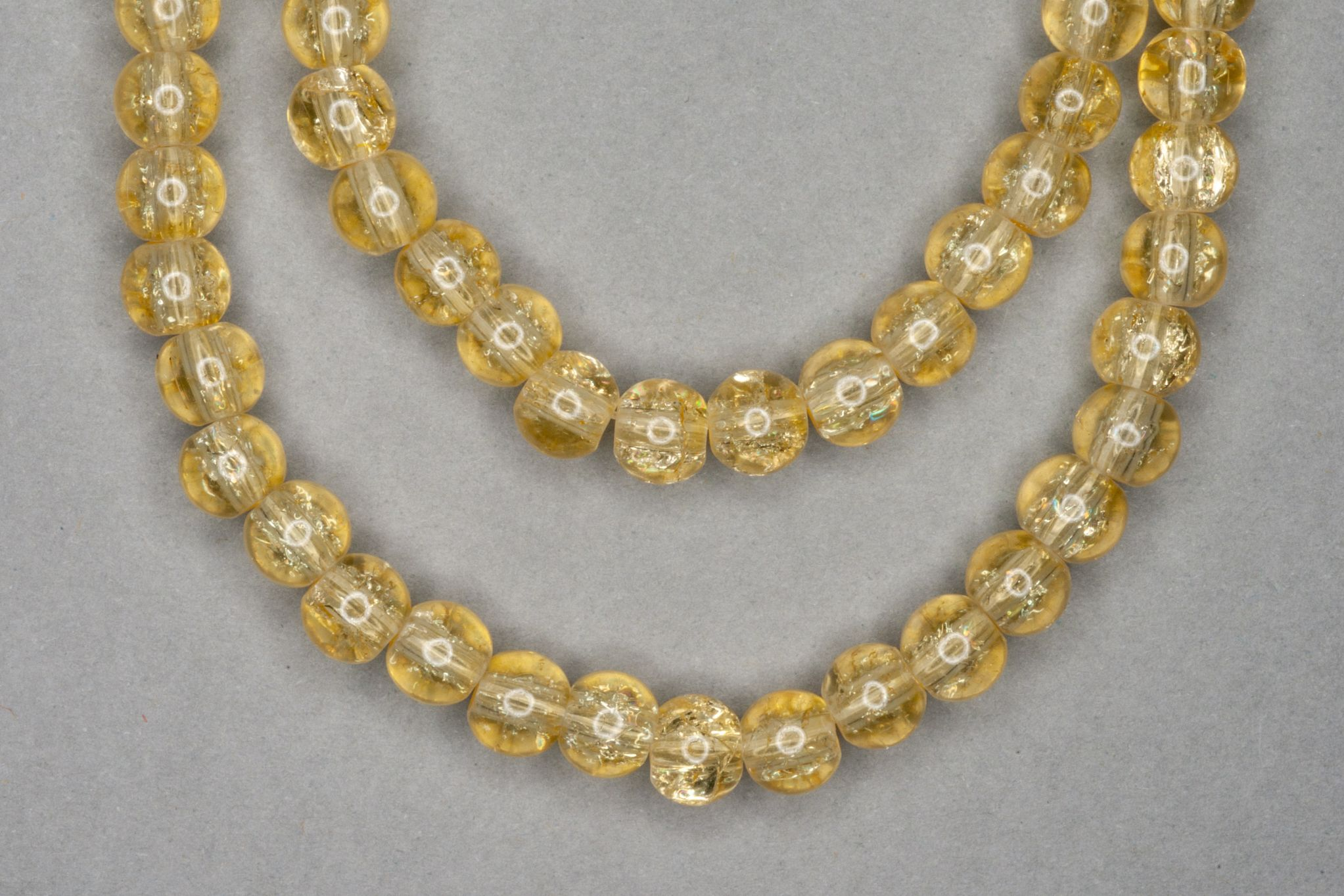 Lemon Crackle Glass Beads