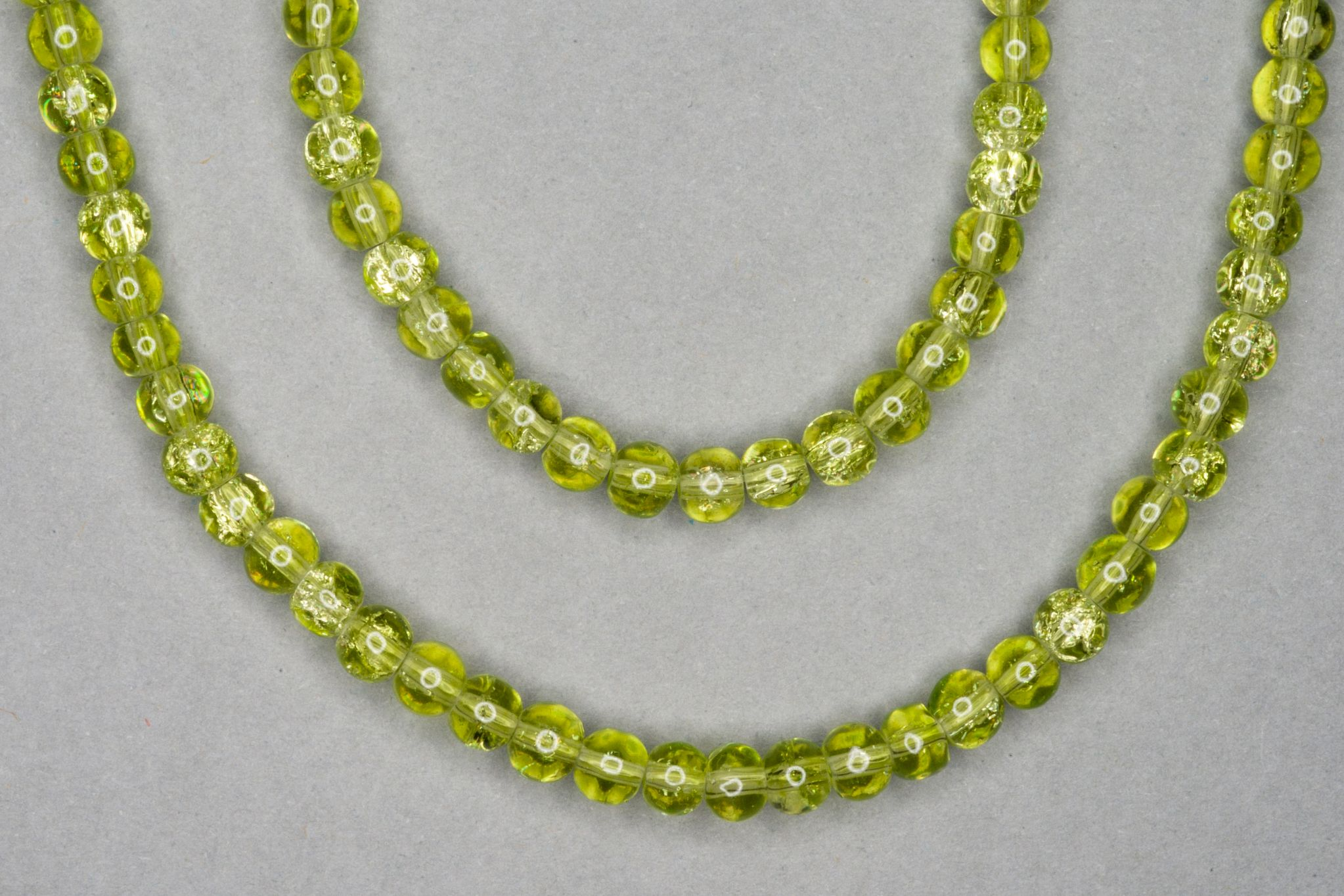 Lime Crackle Glass Beads