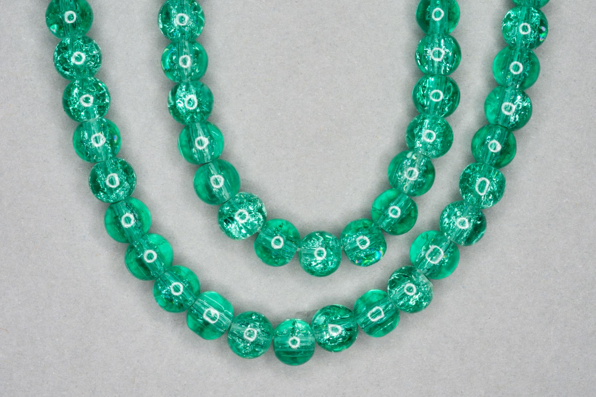 Mint Green Crackle Glass Beads
