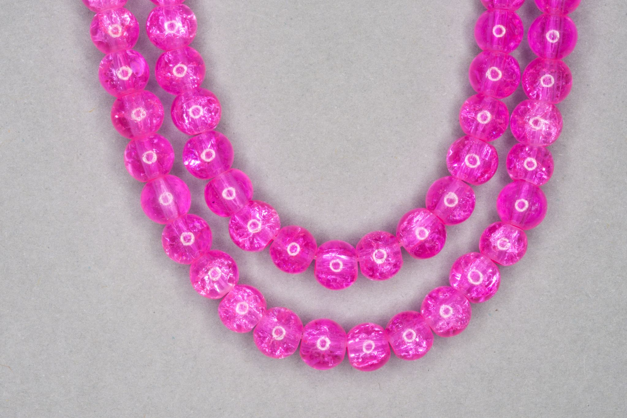 Neon Pink Crackle Glass Beads