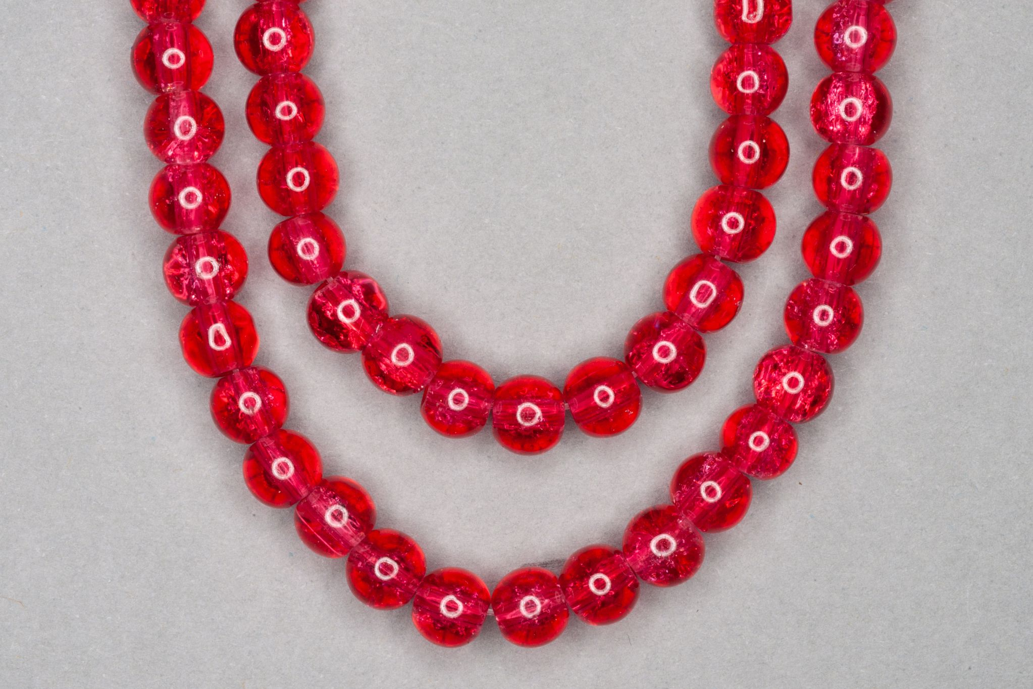 Pink Red Crackle Glass Beads