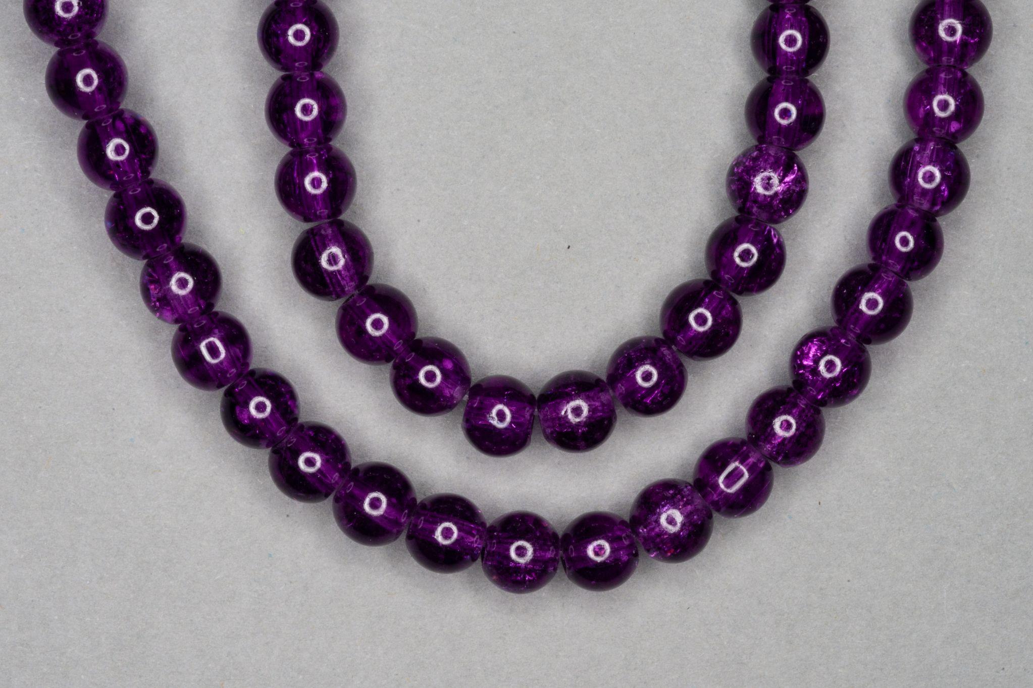 Plum Purple Crackle Glass Beads