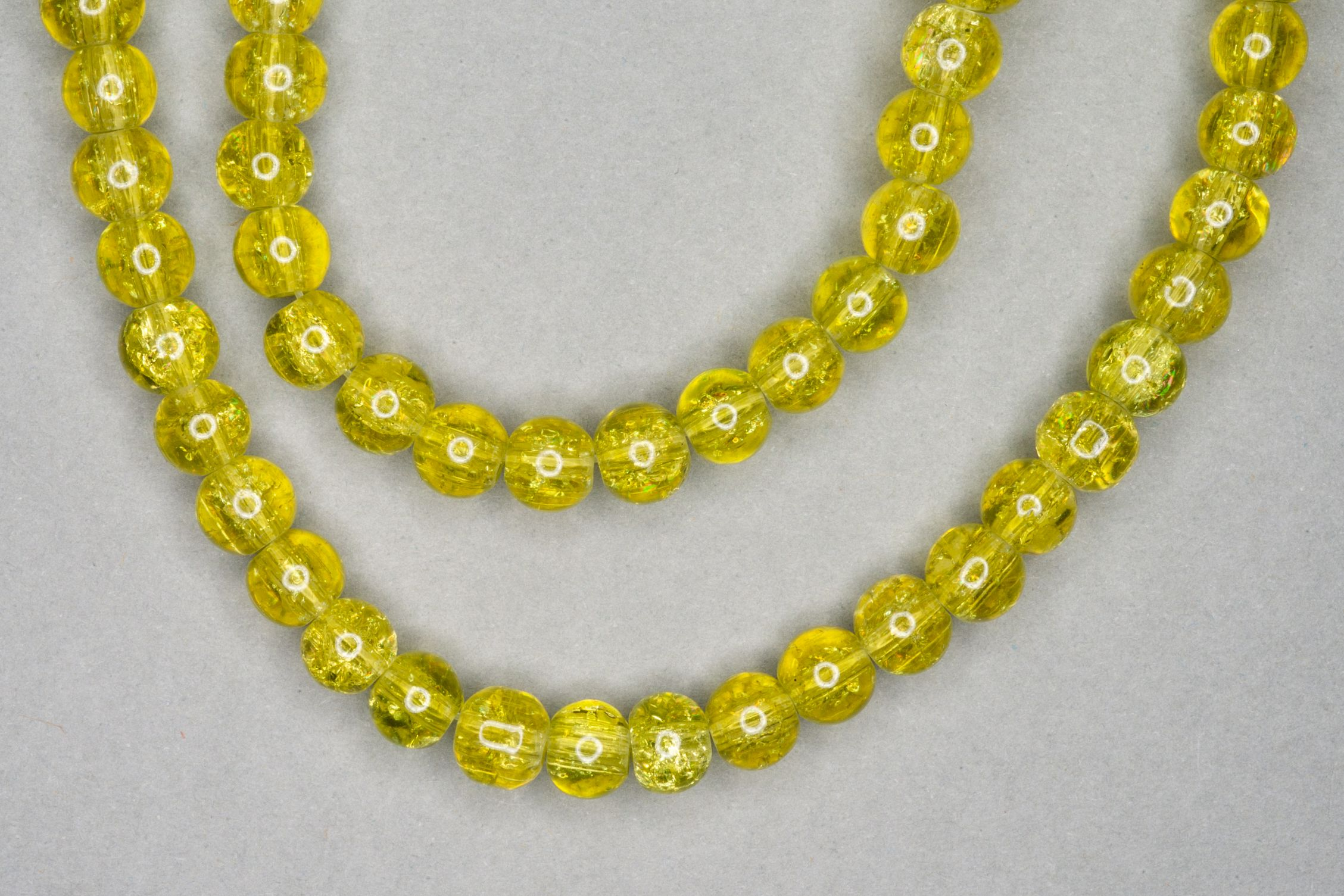 Yellow Crackle Glass Beads