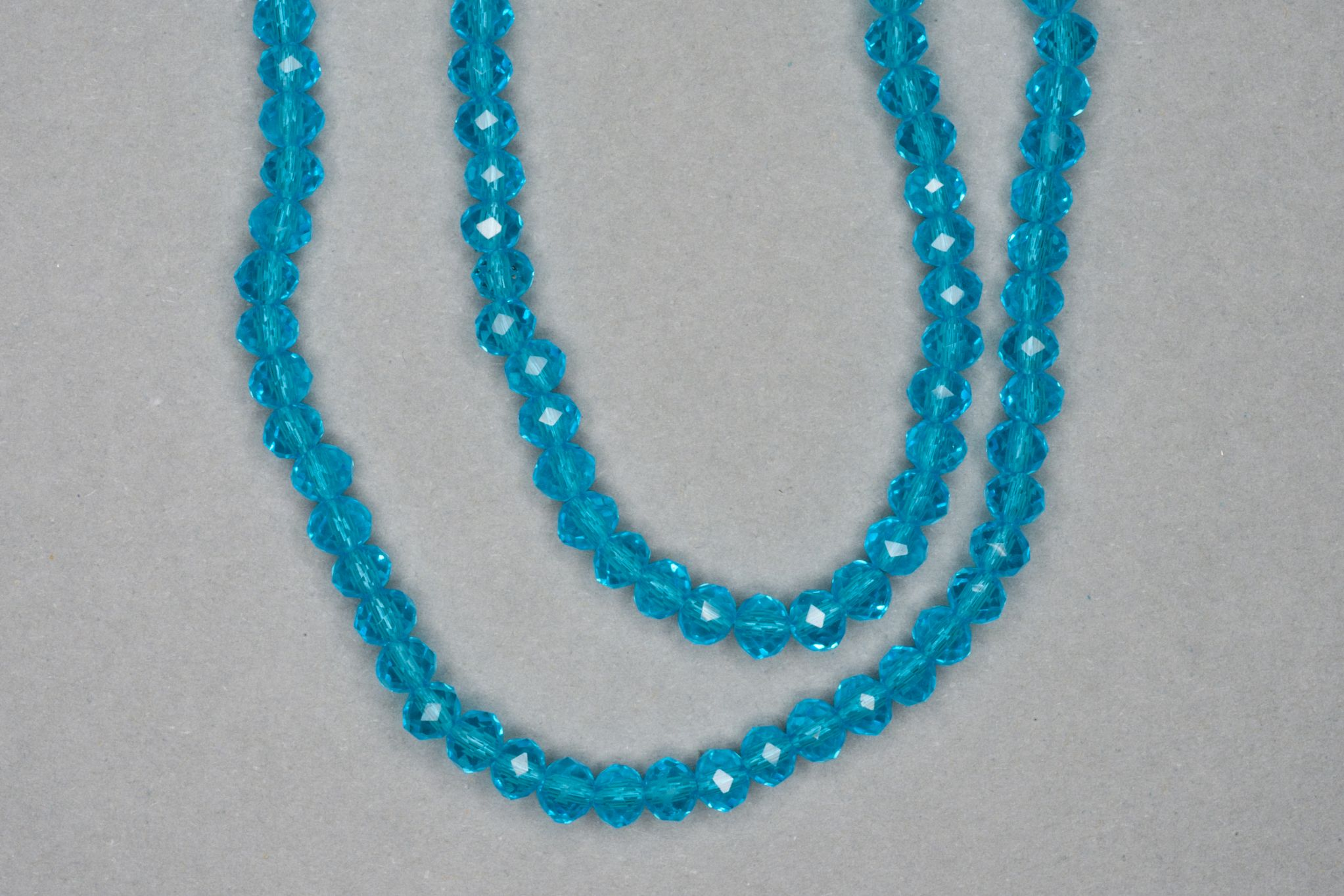 Aqua Faceted Glass Beads
