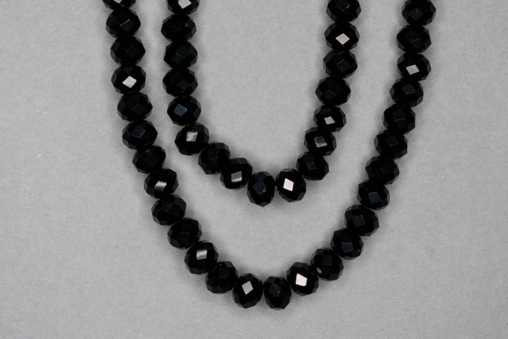 Black Faceted Glass Beads