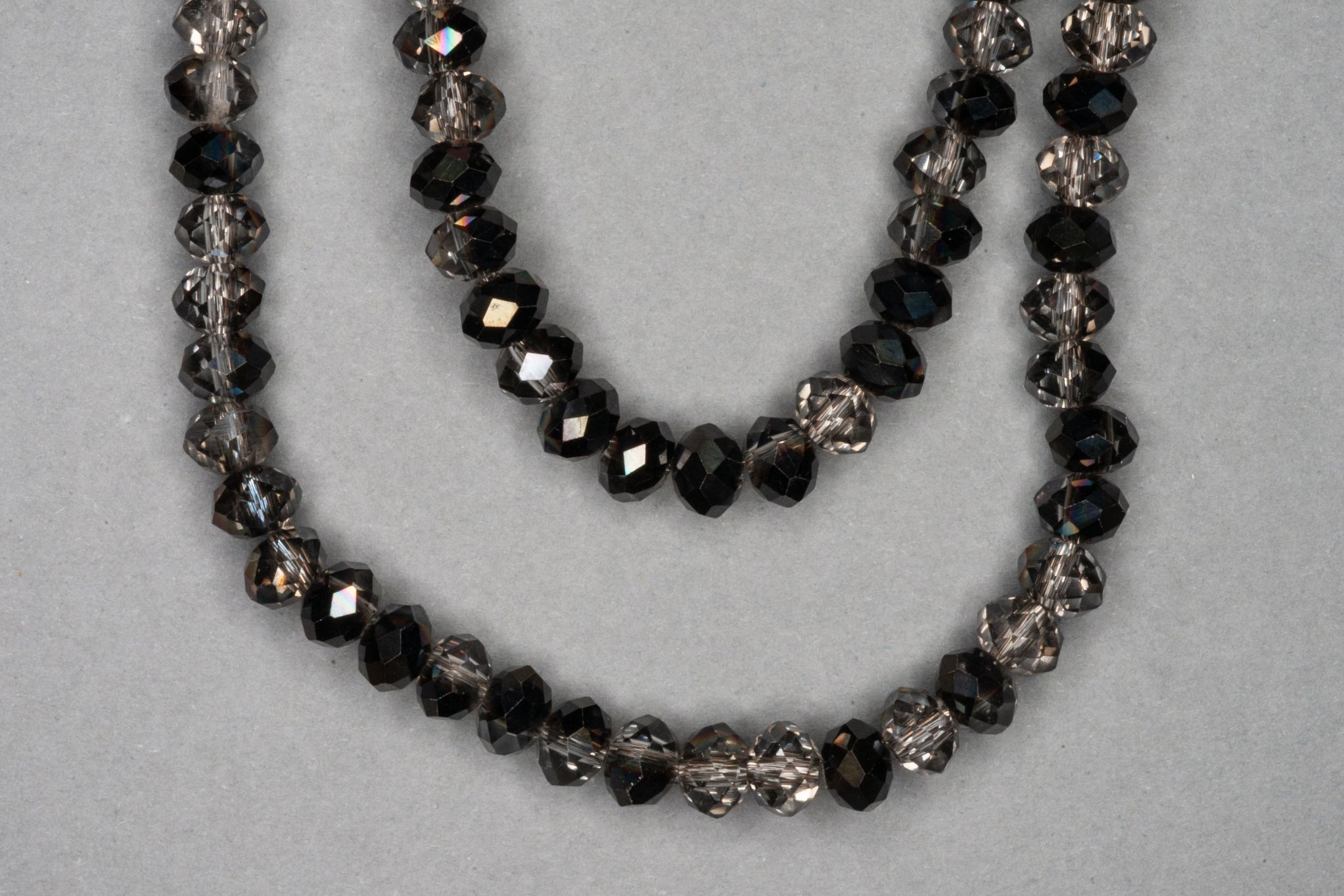 Graphite/Grey Faceted Glass Beads