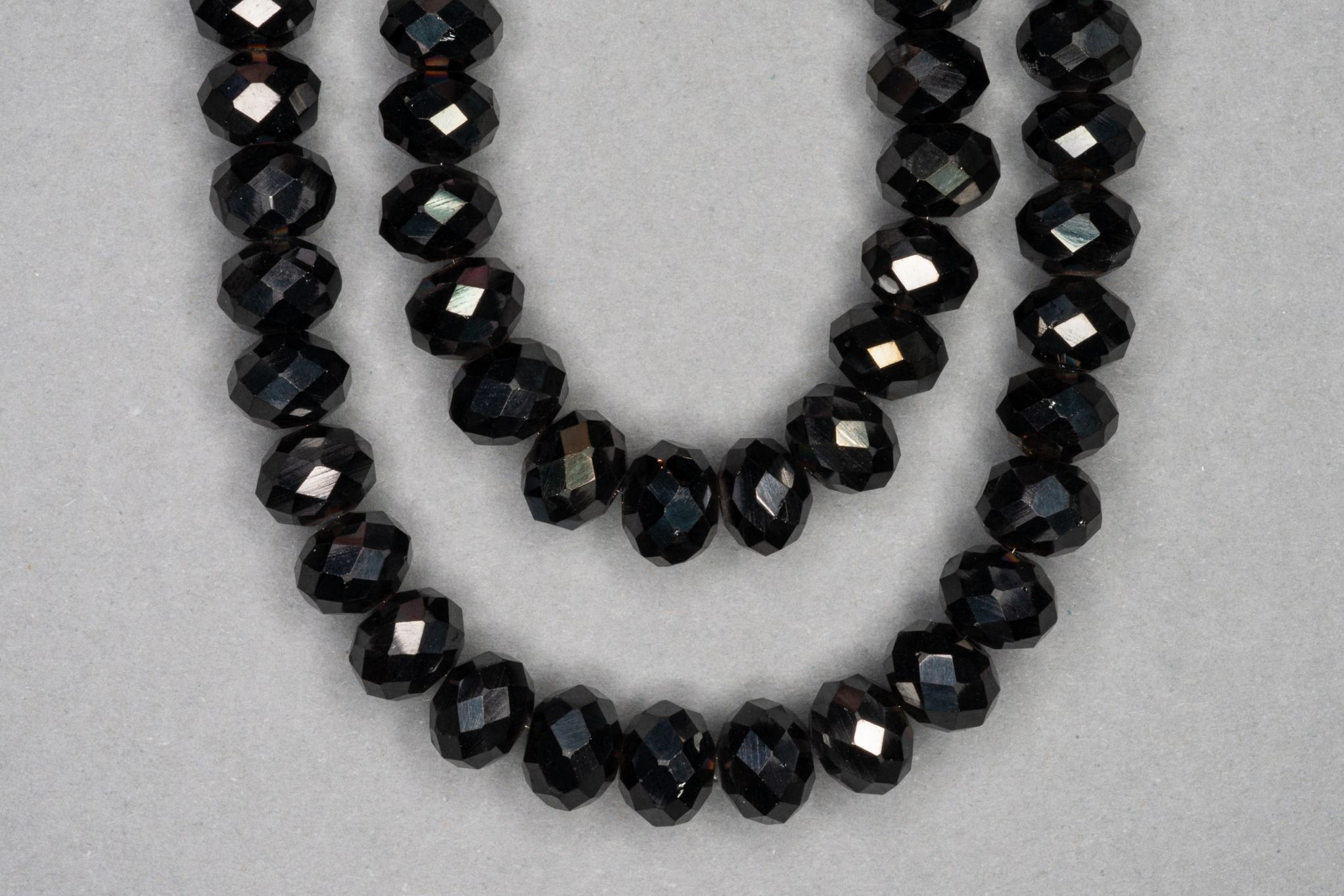 Graphite Faceted Glass Beads