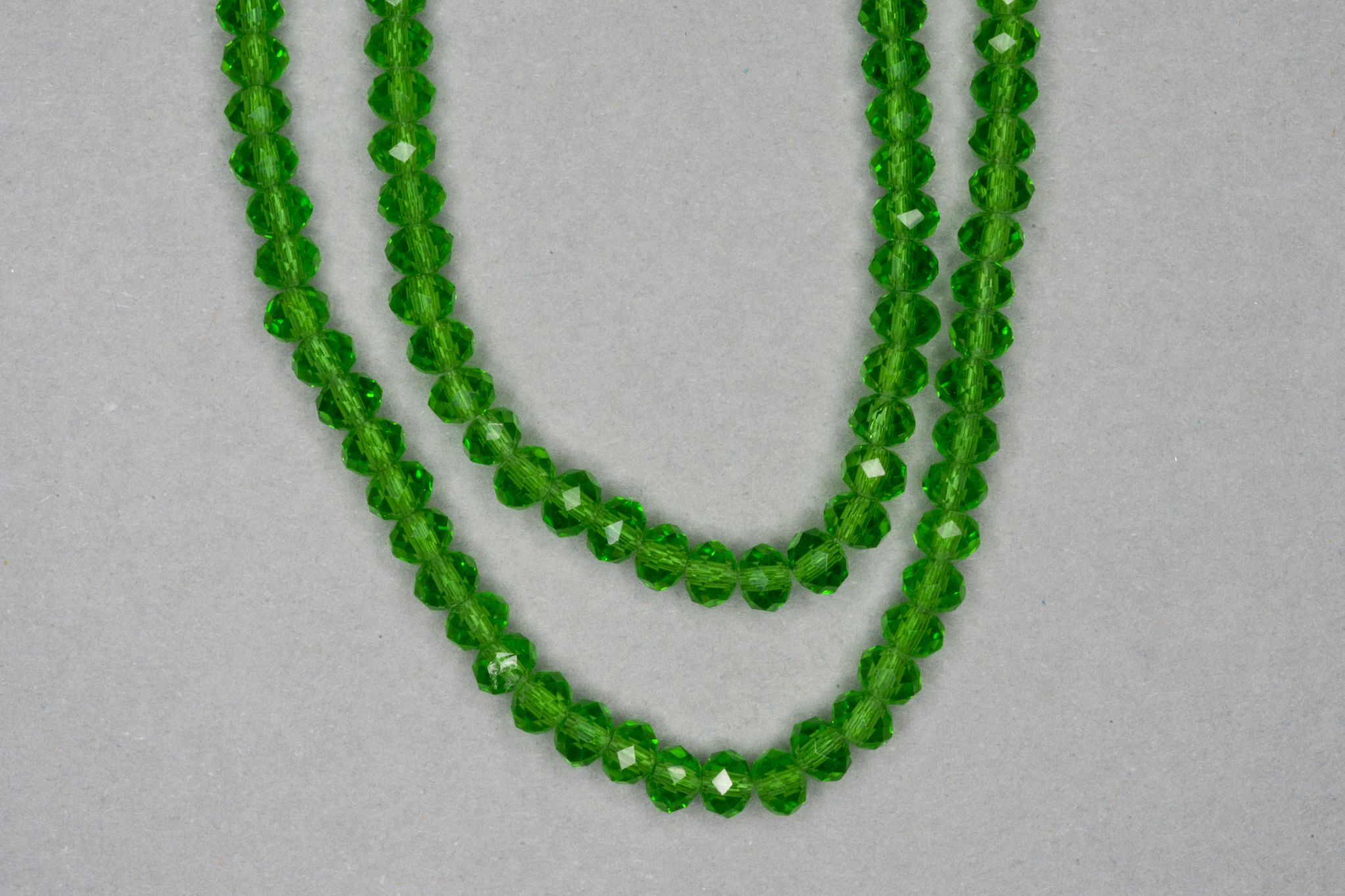 Green Faceted Glass Beads