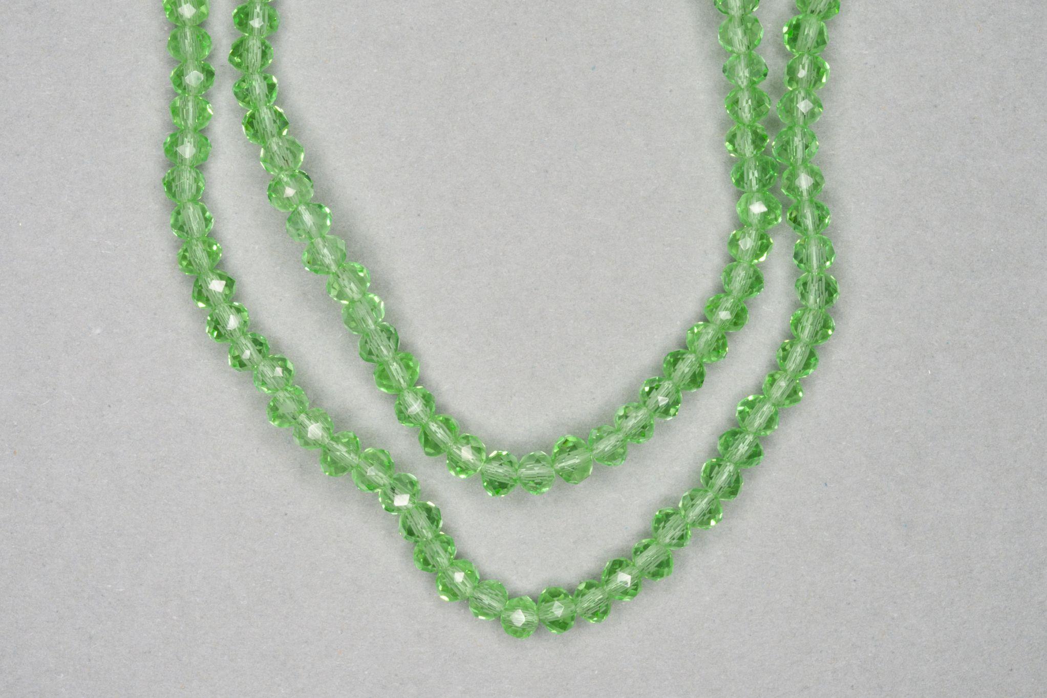 Light Green Faceted Glass Beads