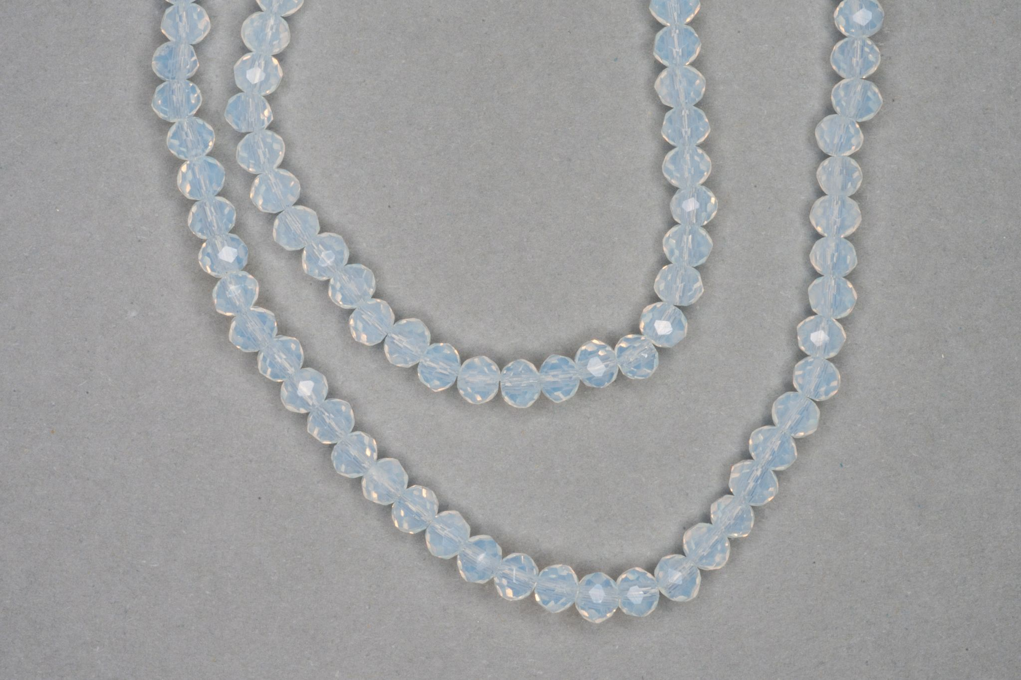 Milky White Faceted Glass Beads