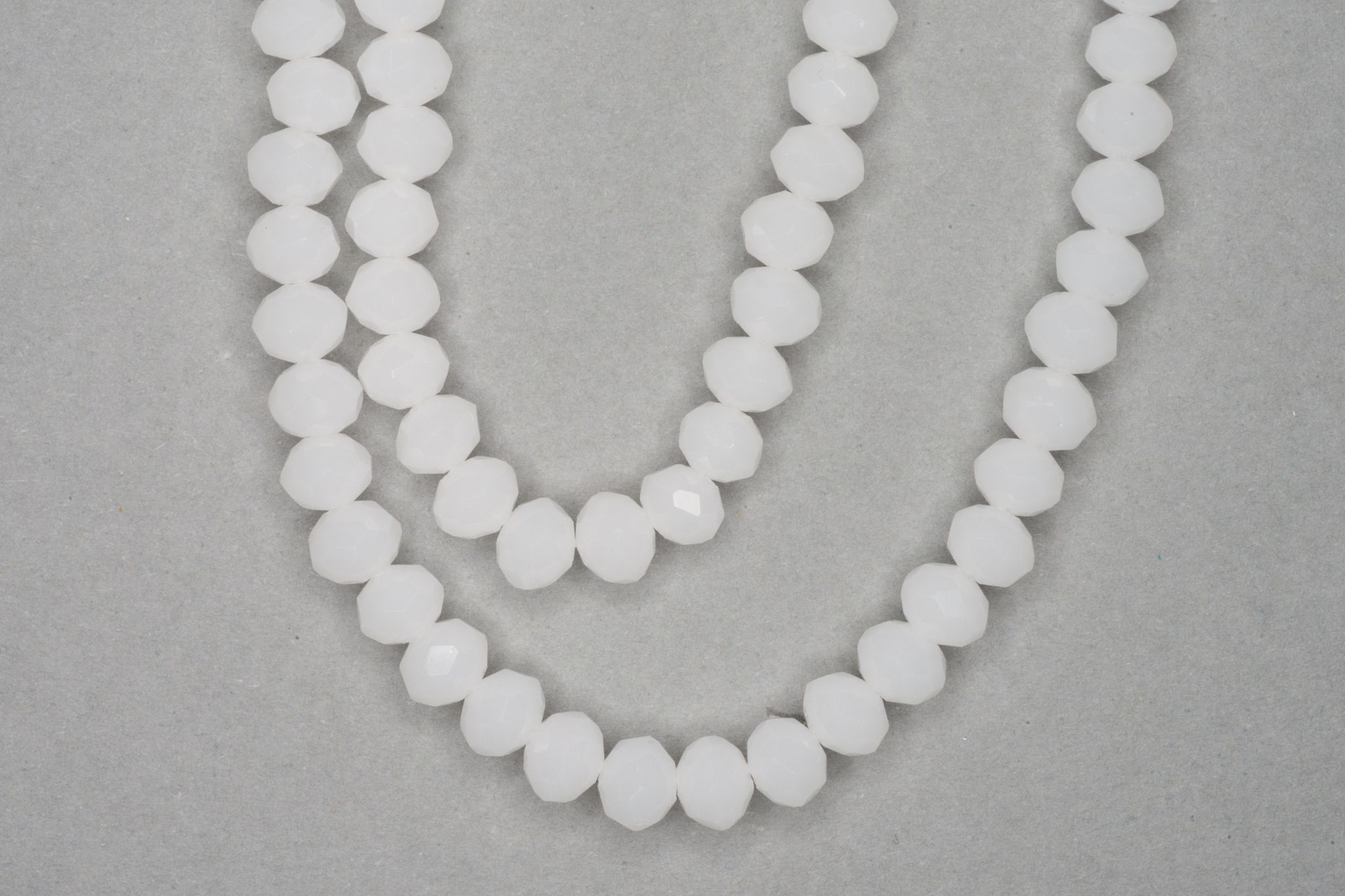 Off White Faceted Glass Beads