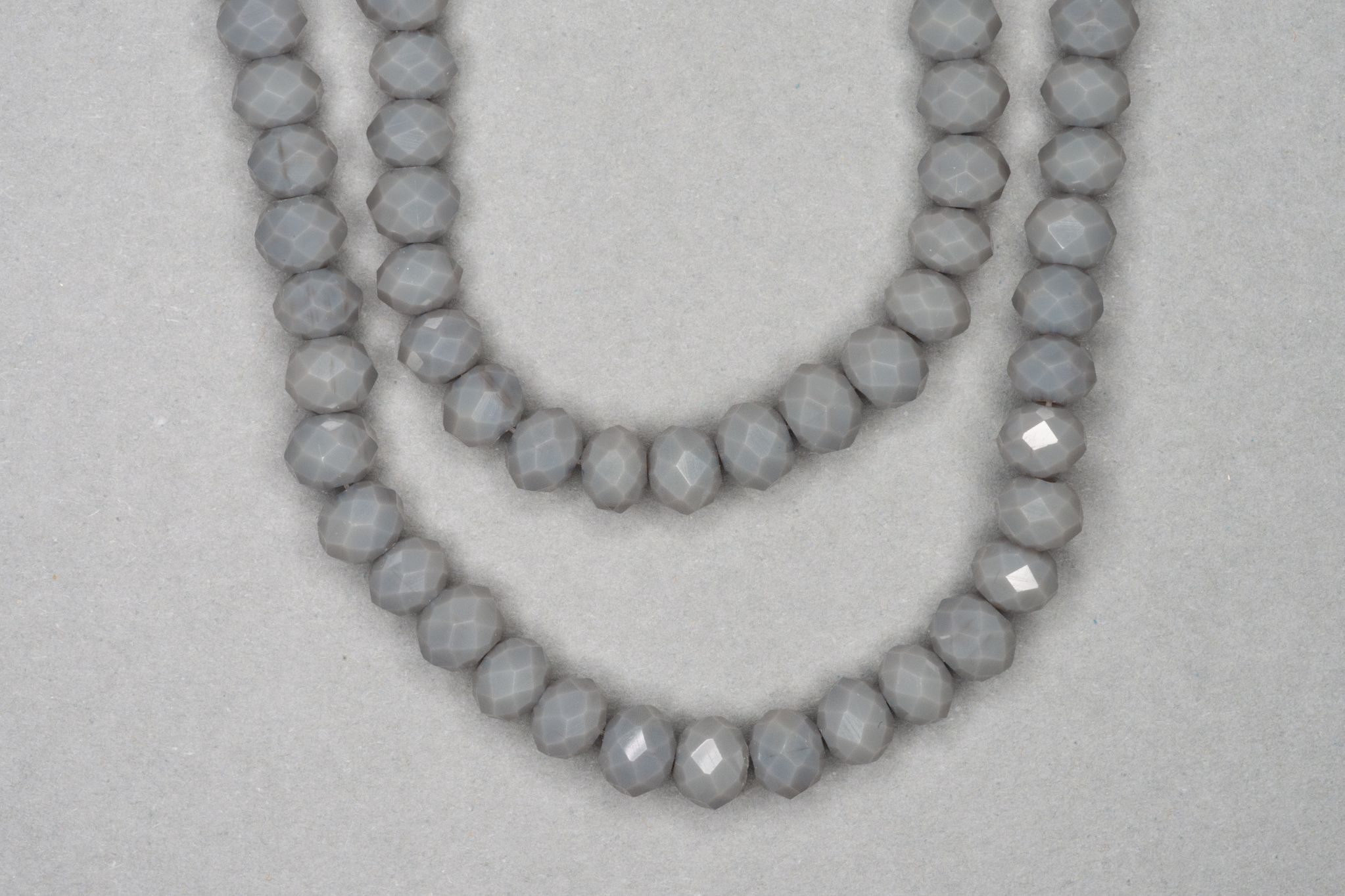 Opaque Grey Faceted Glass Beads