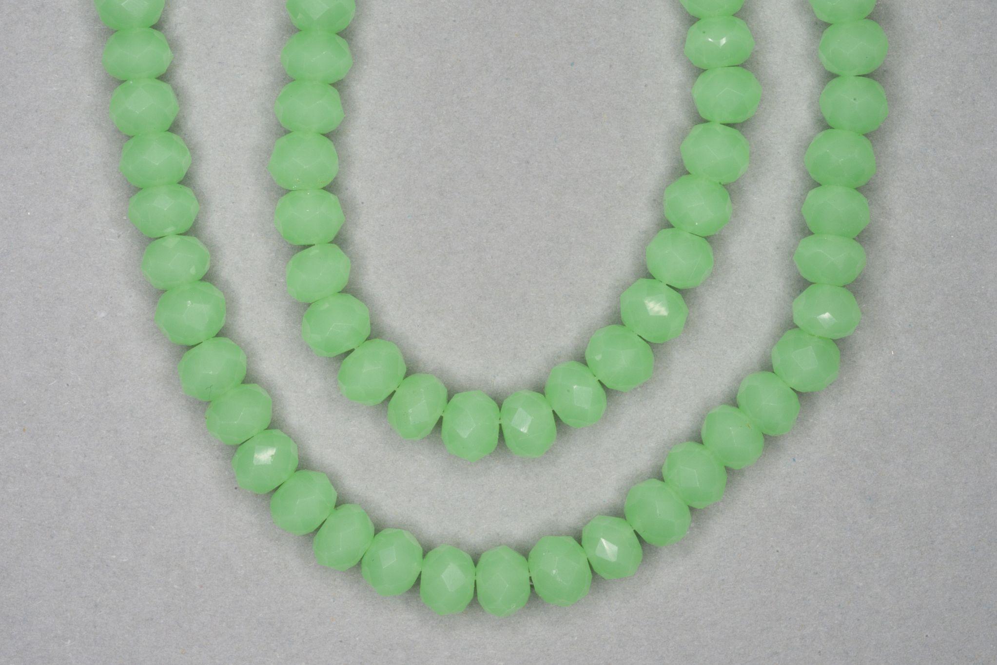 Opaque Light Green Faceted Glass Beads