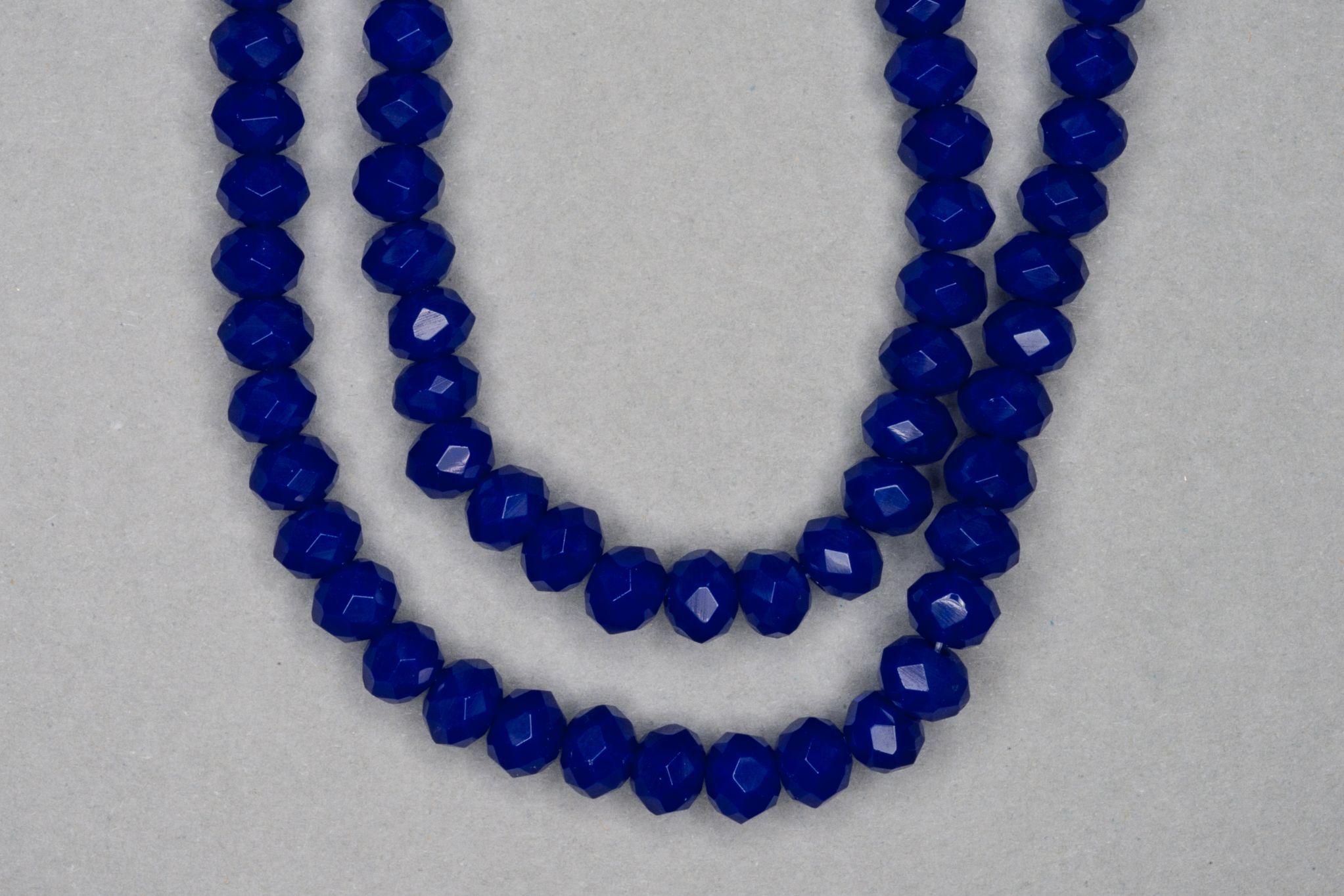 Opaque Sapphire Faceted Glass Beads