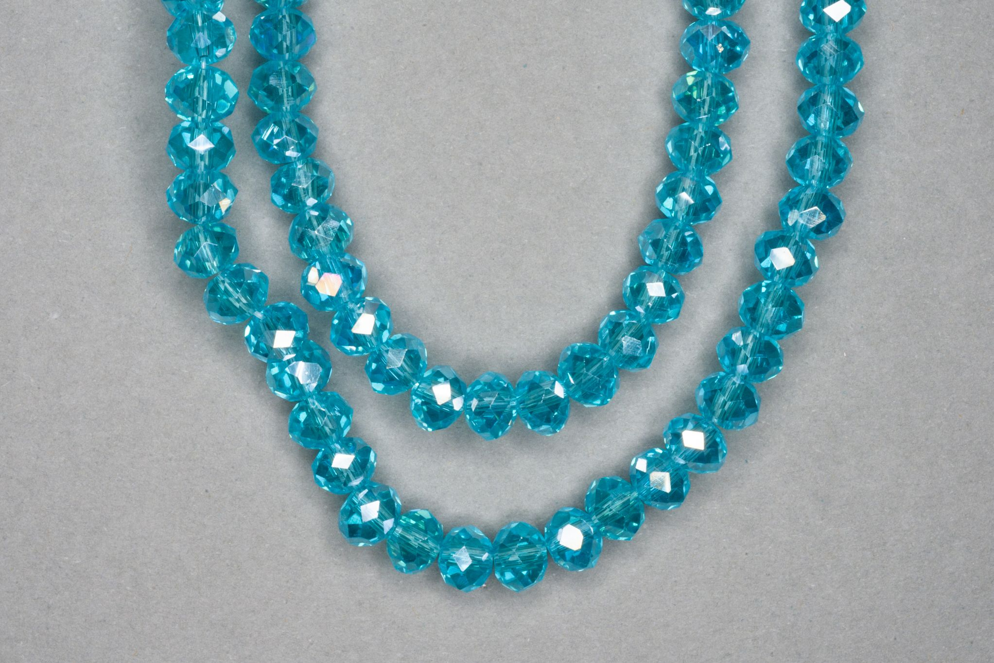 Silver Aqua Faceted Glass Beads