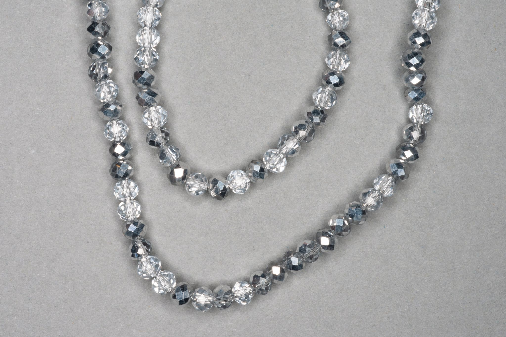 Silver/Clear Faceted Glass Beads