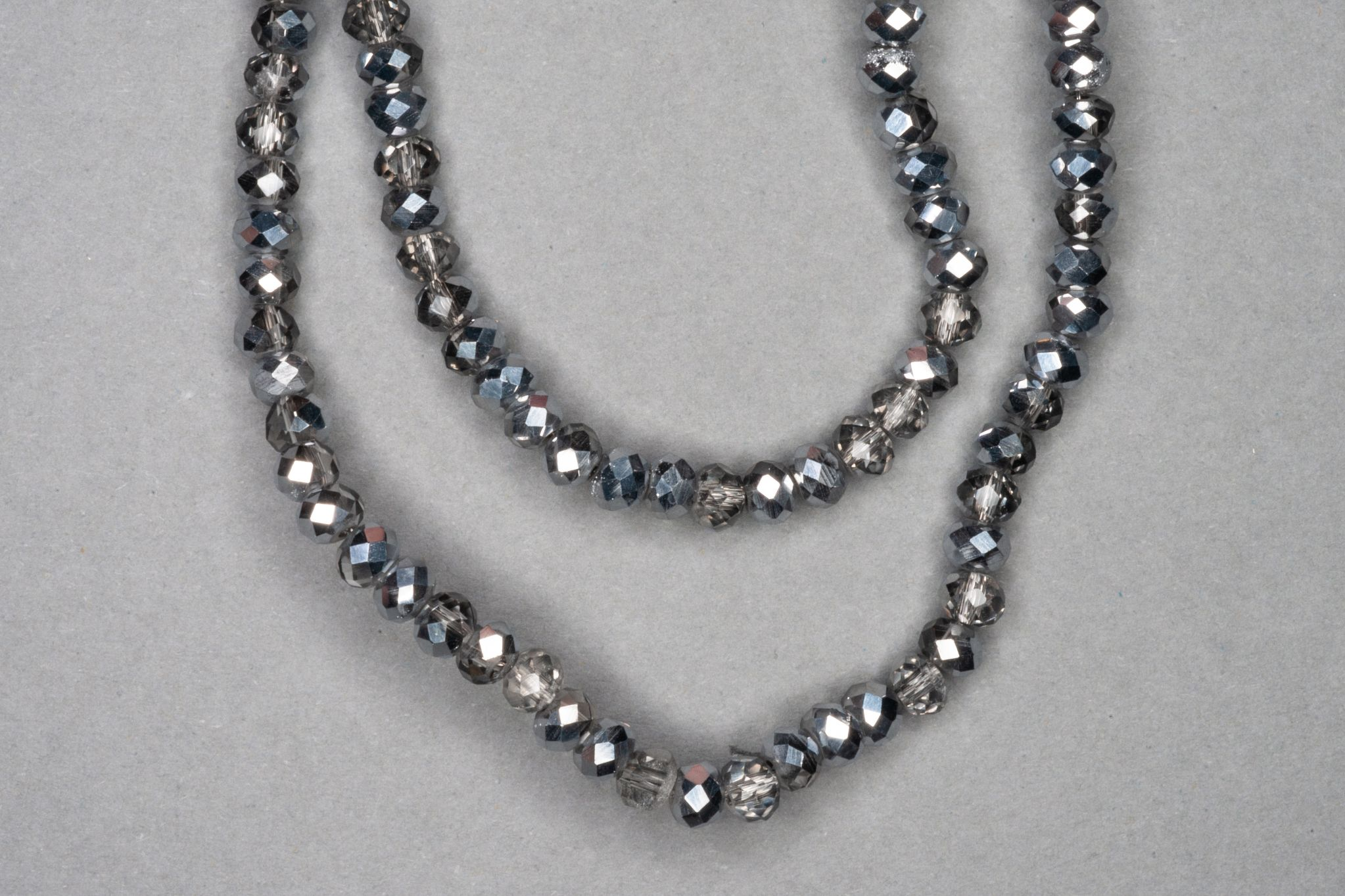 Silver/Grey Faceted Glass Beads