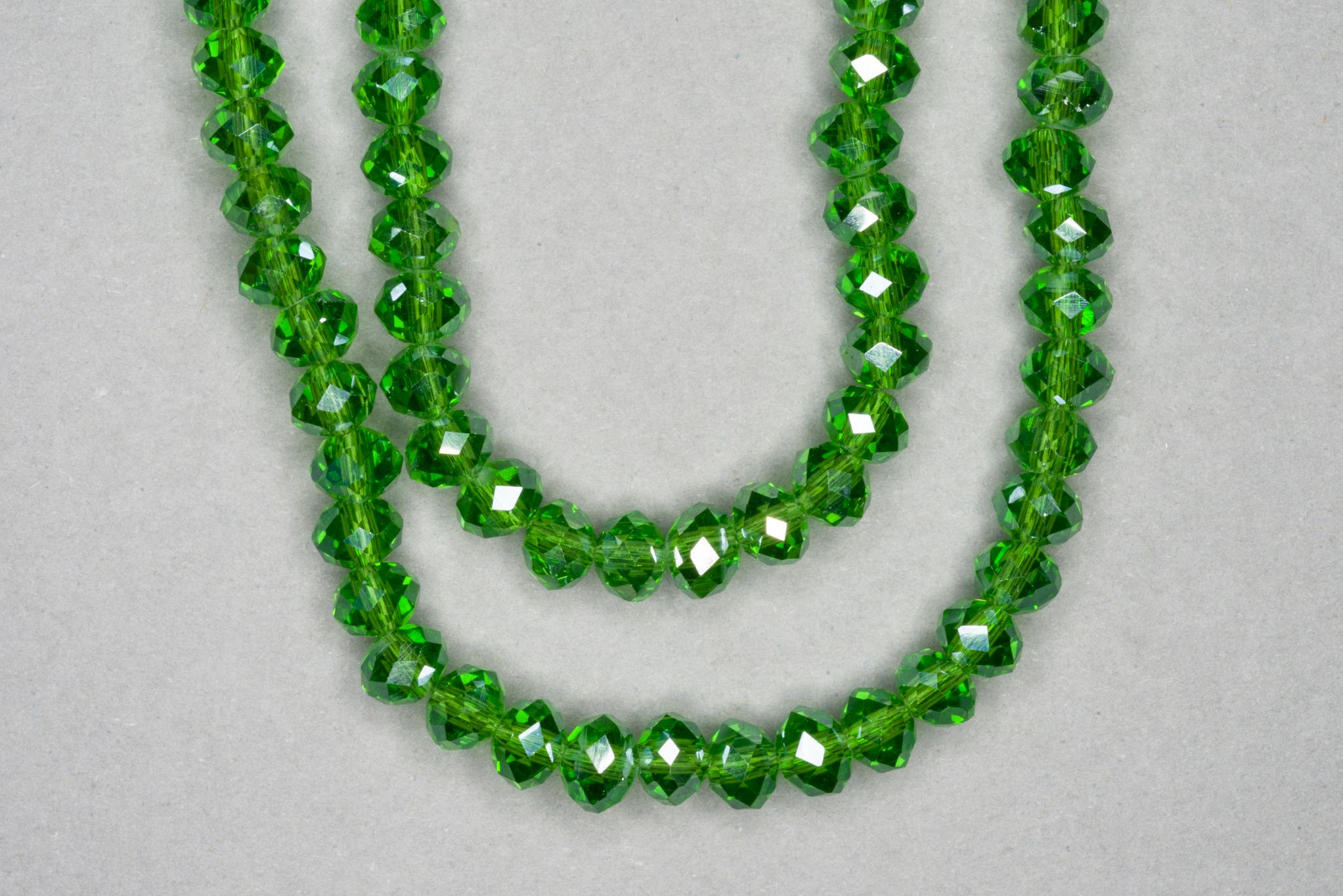Silver Green Faceted Glass Beads