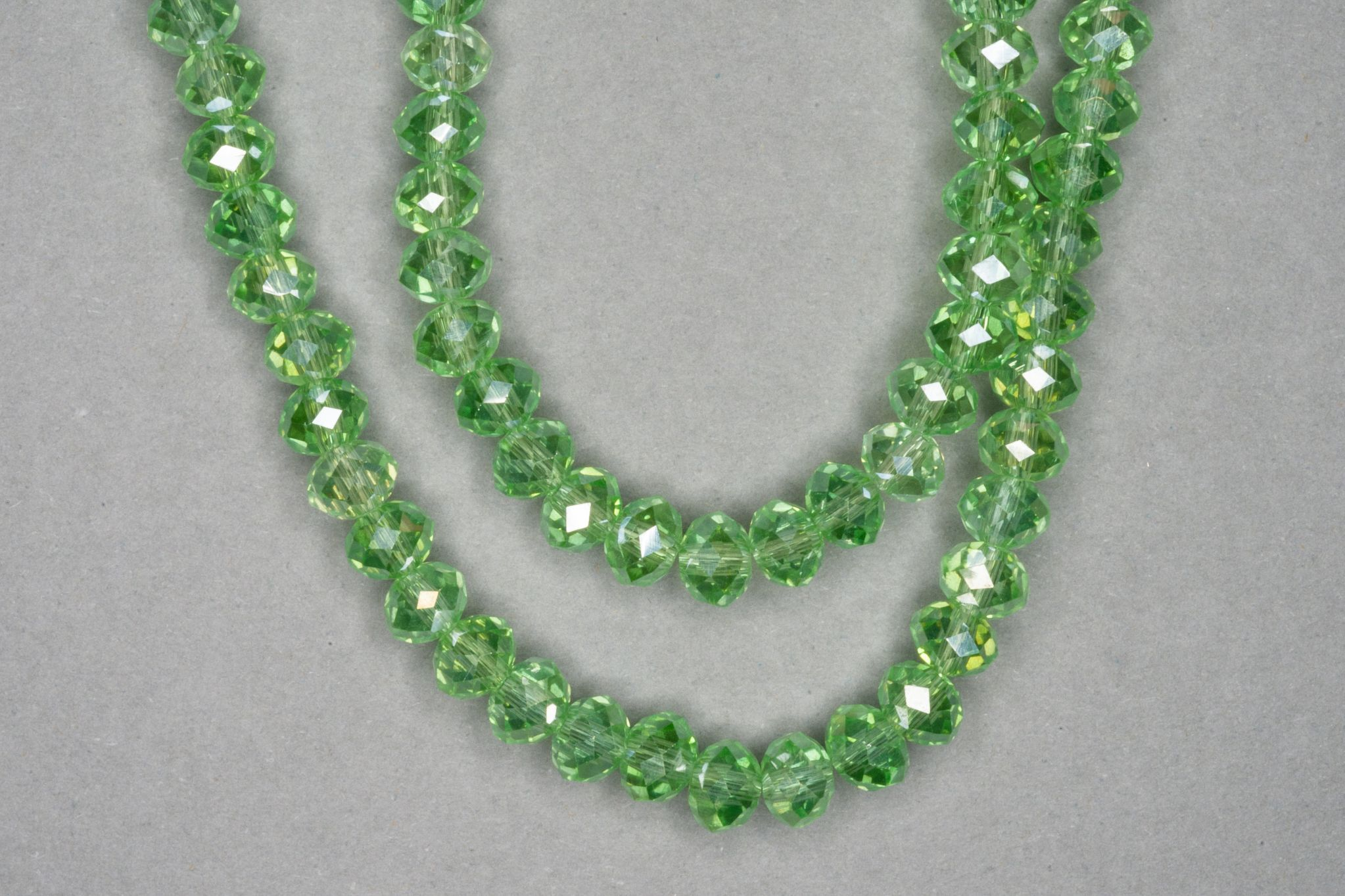 Silver Light Green Faceted Glass Beads