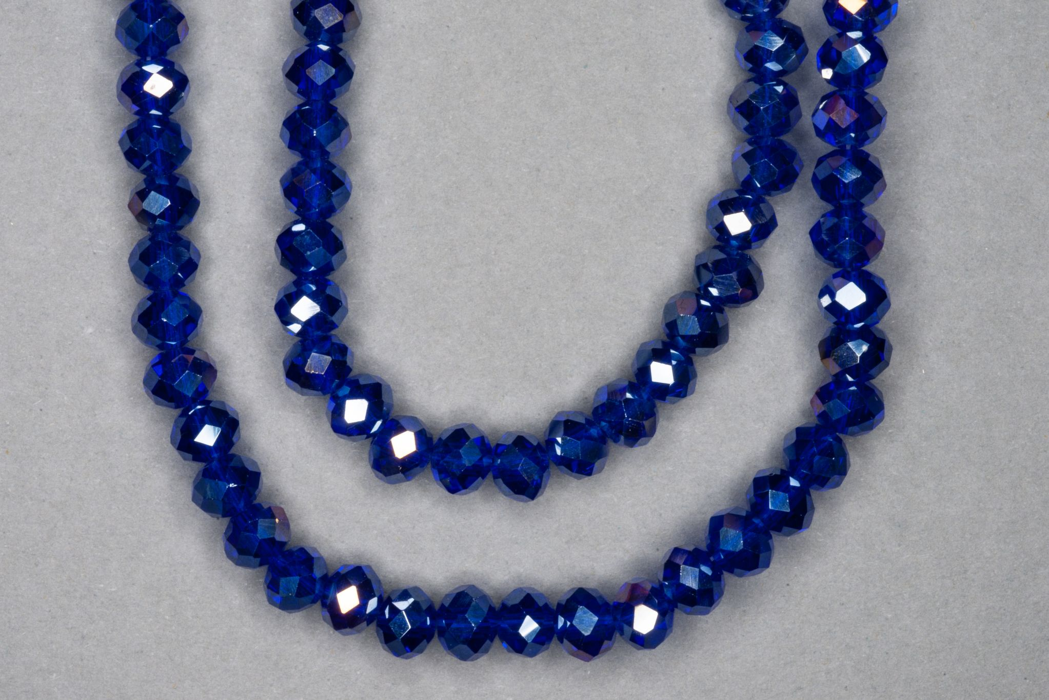 Silver Sapphire Faceted Glass Beads