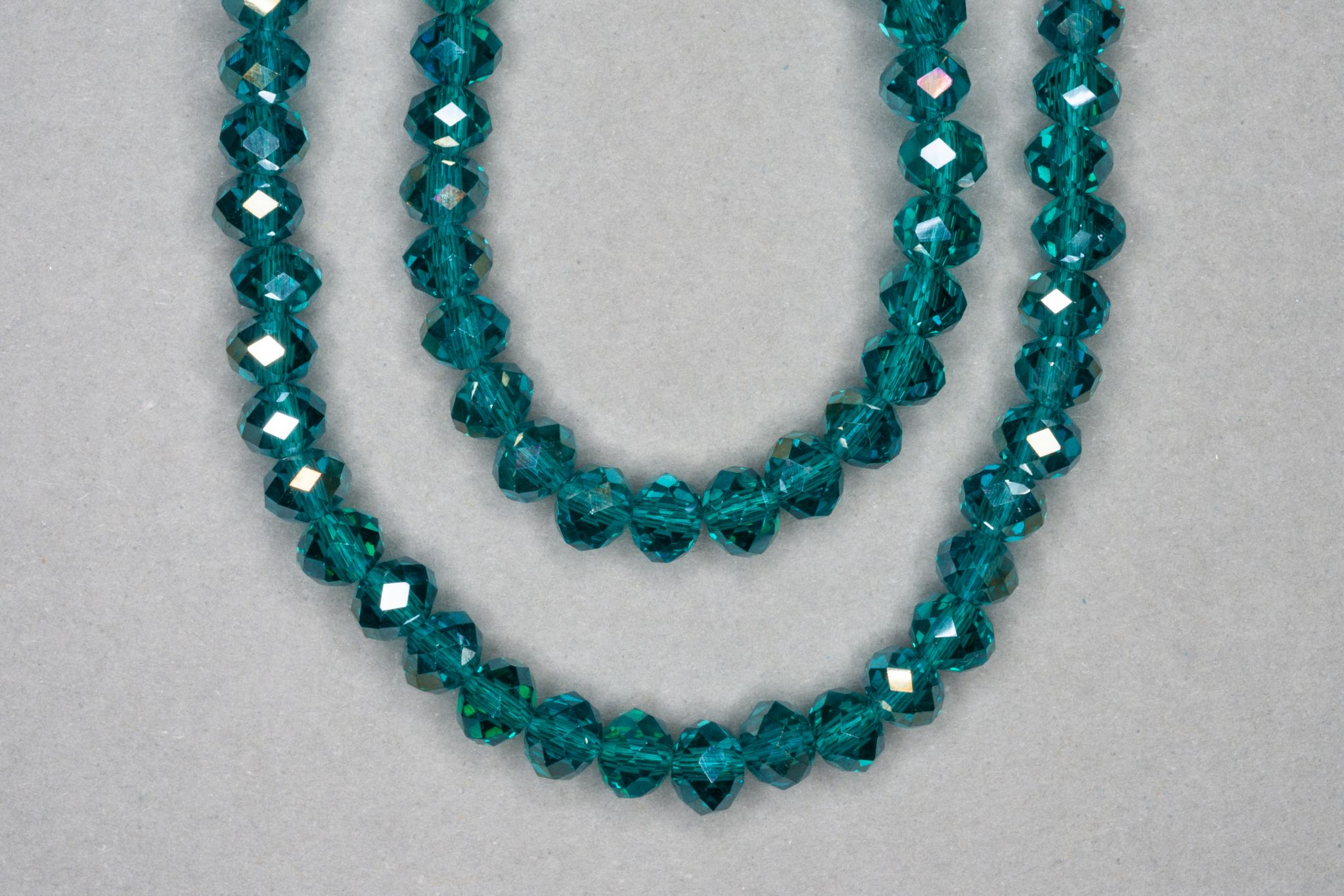 Silver Teal Faceted Glass Beads