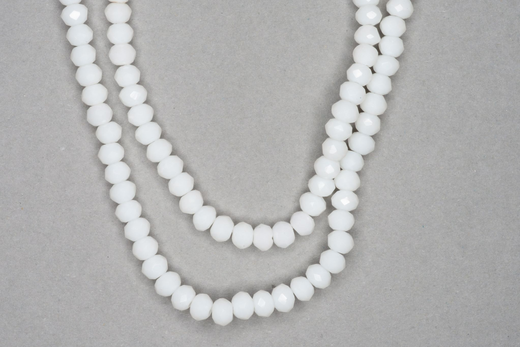 White Faceted Glass Beads