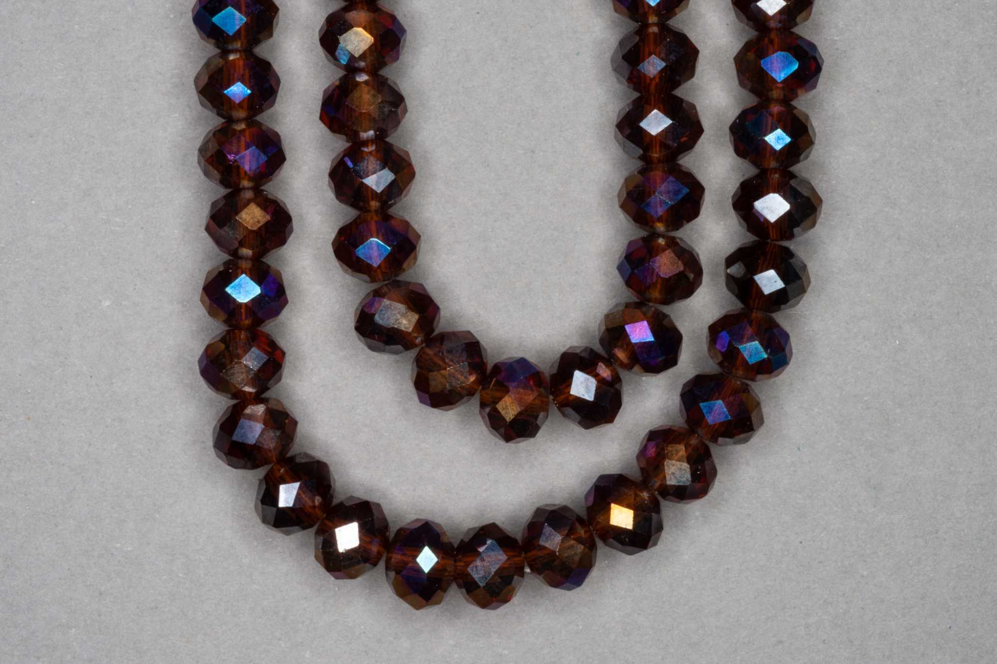 AB Brown Faceted Glass Beads