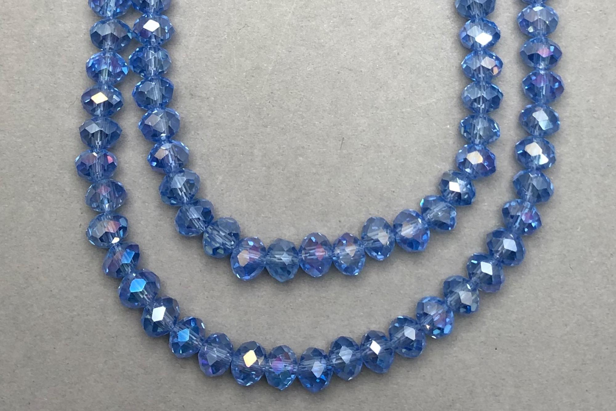 AB Cornflower Faceted Glass Beads