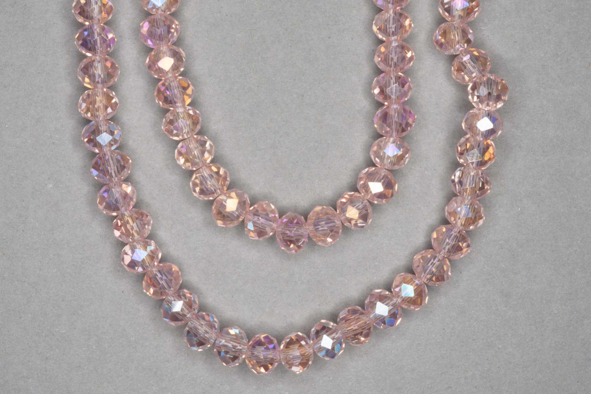AB Flesh Pink Faceted Glass Beads