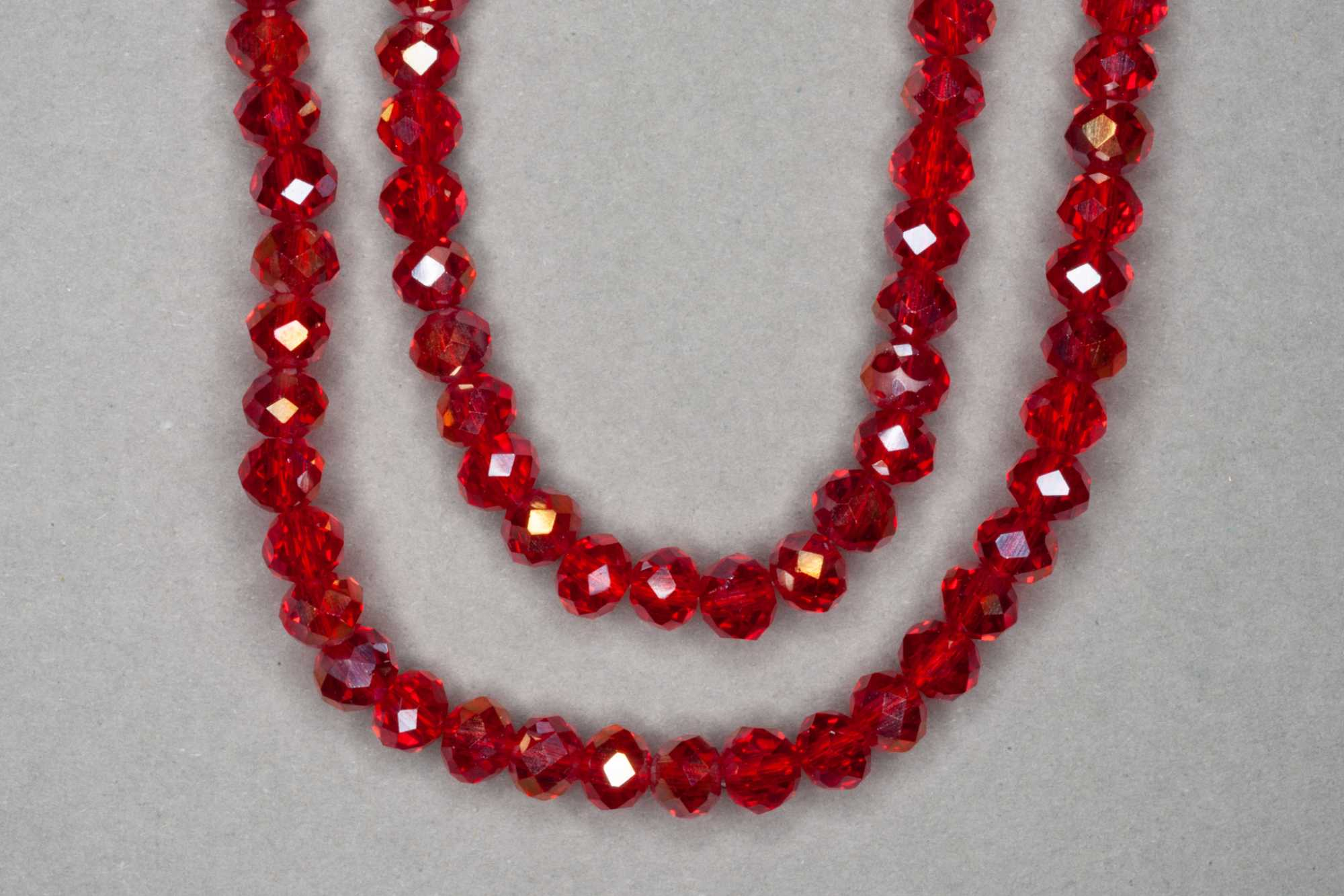 AB Red Faceted Glass Beads