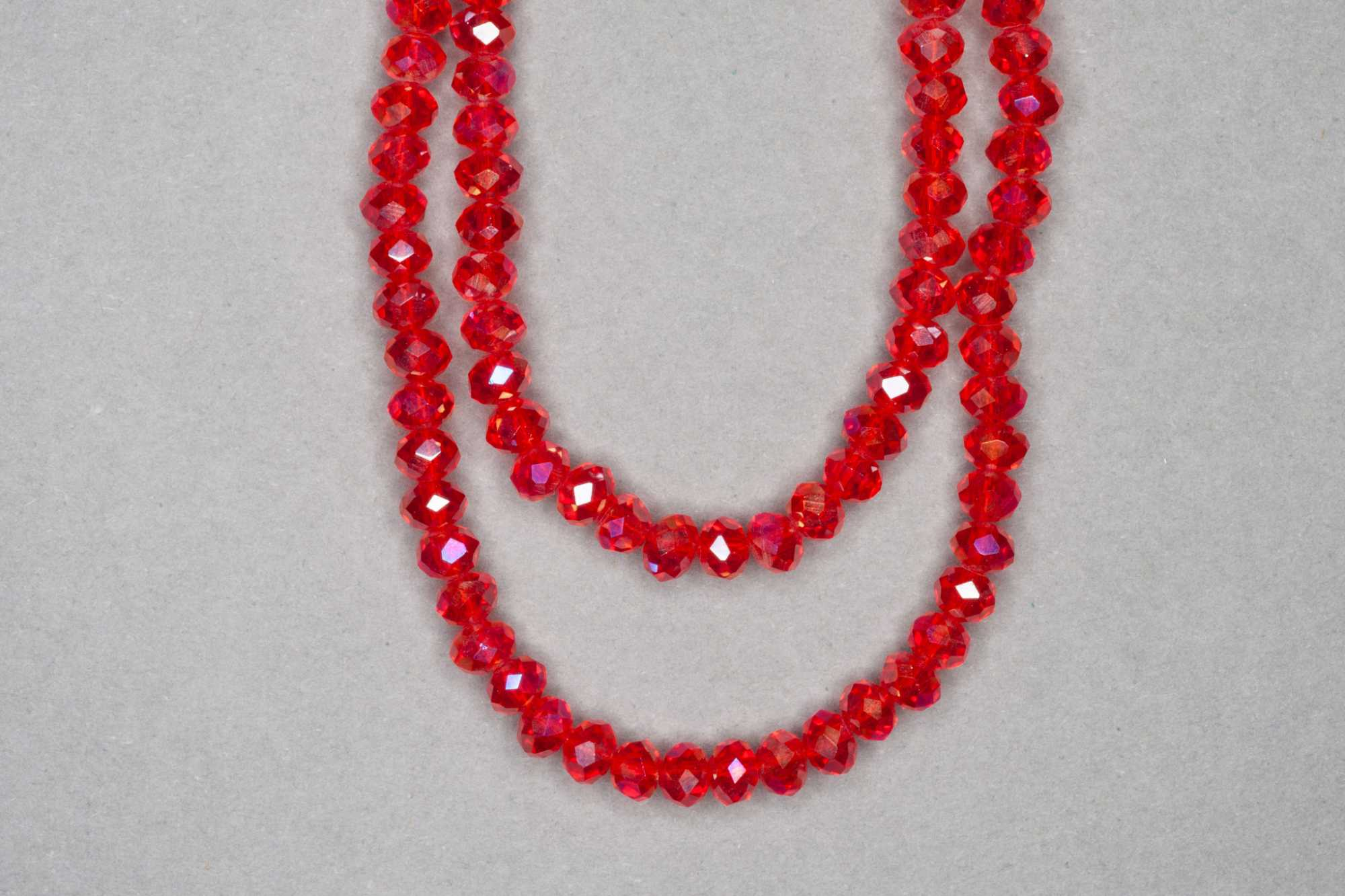 AB Red Orange Faceted Glass Beads