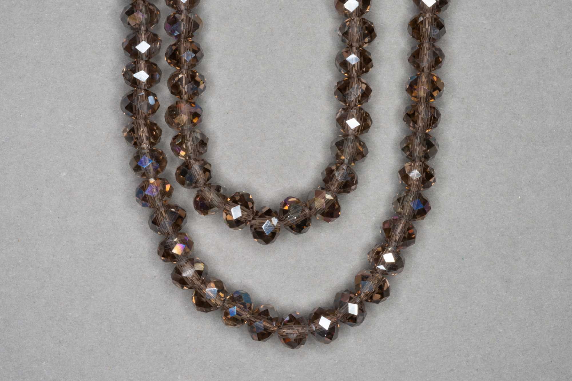 AB Smokey Faceted Glass Beads