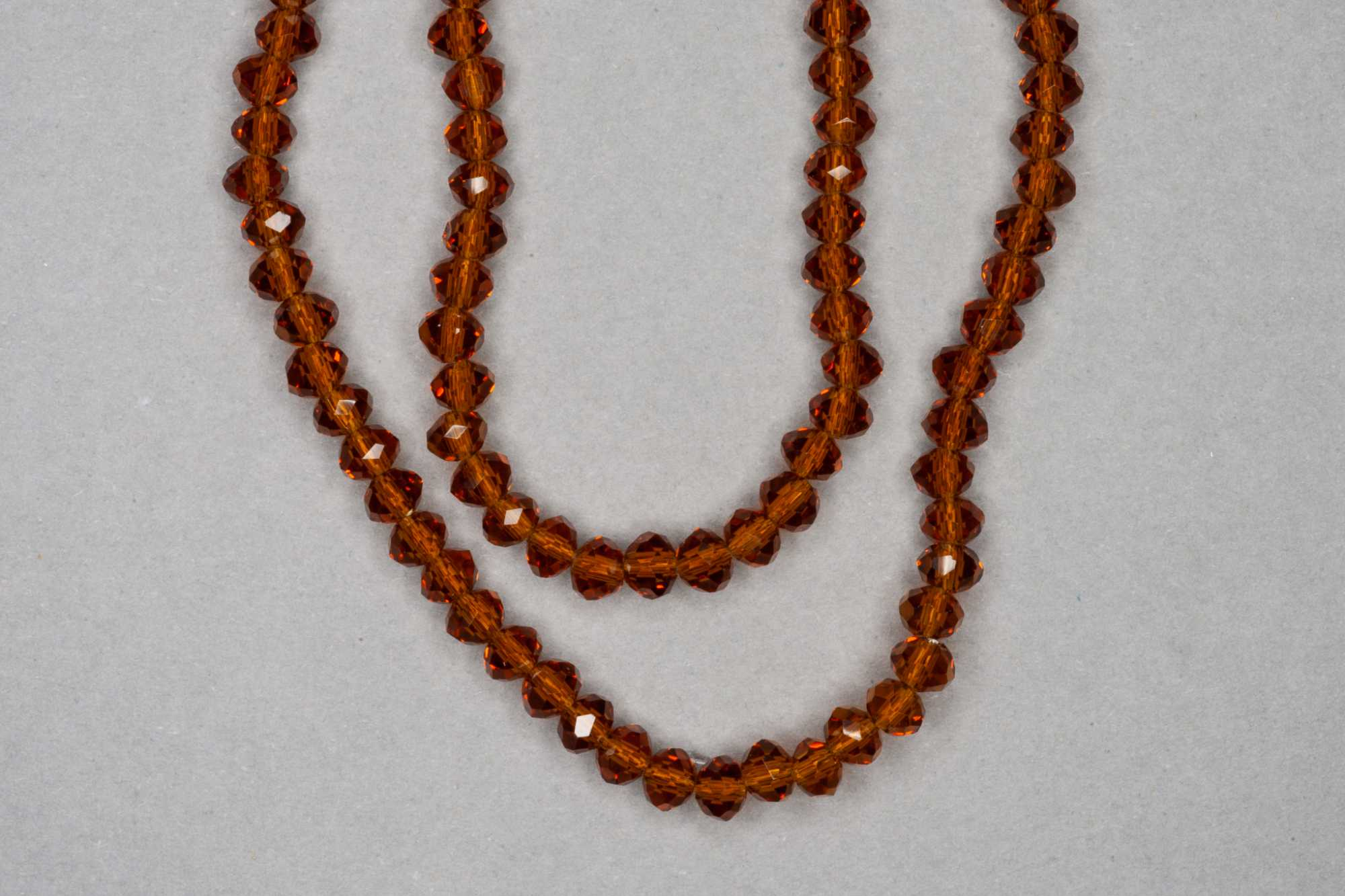 Brown Faceted Glass Beads