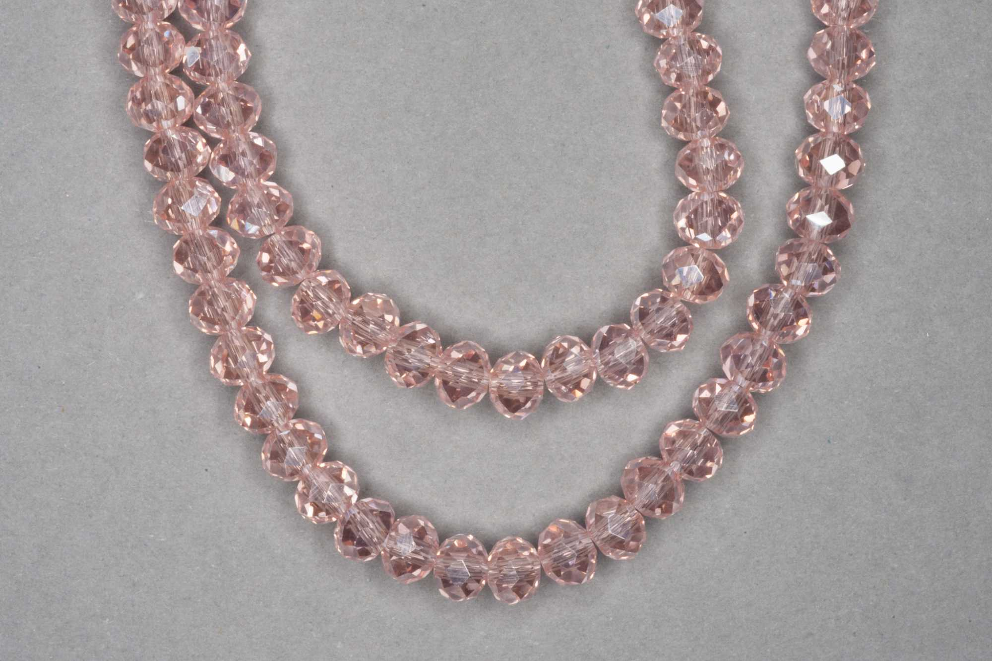 Flesh Pink Faceted Glass Beads