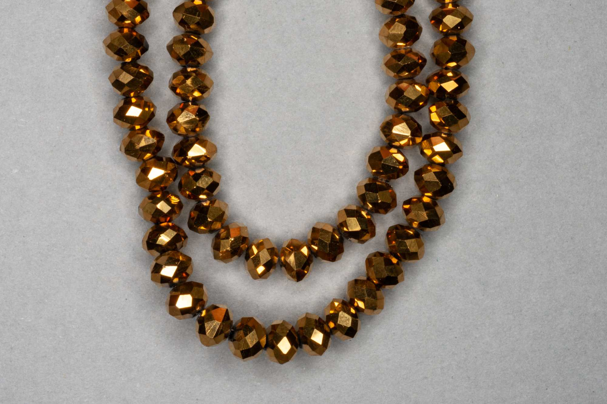 Metallic Antique Gold Faceted Glass Beads